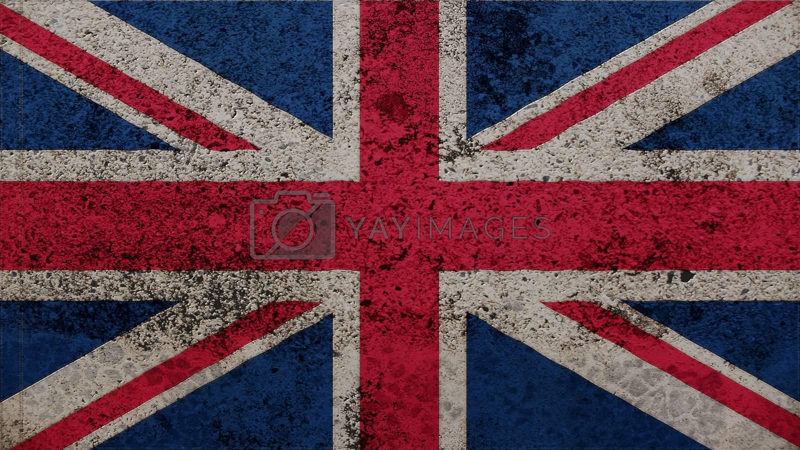United Kingdom Flag on the old wall texture