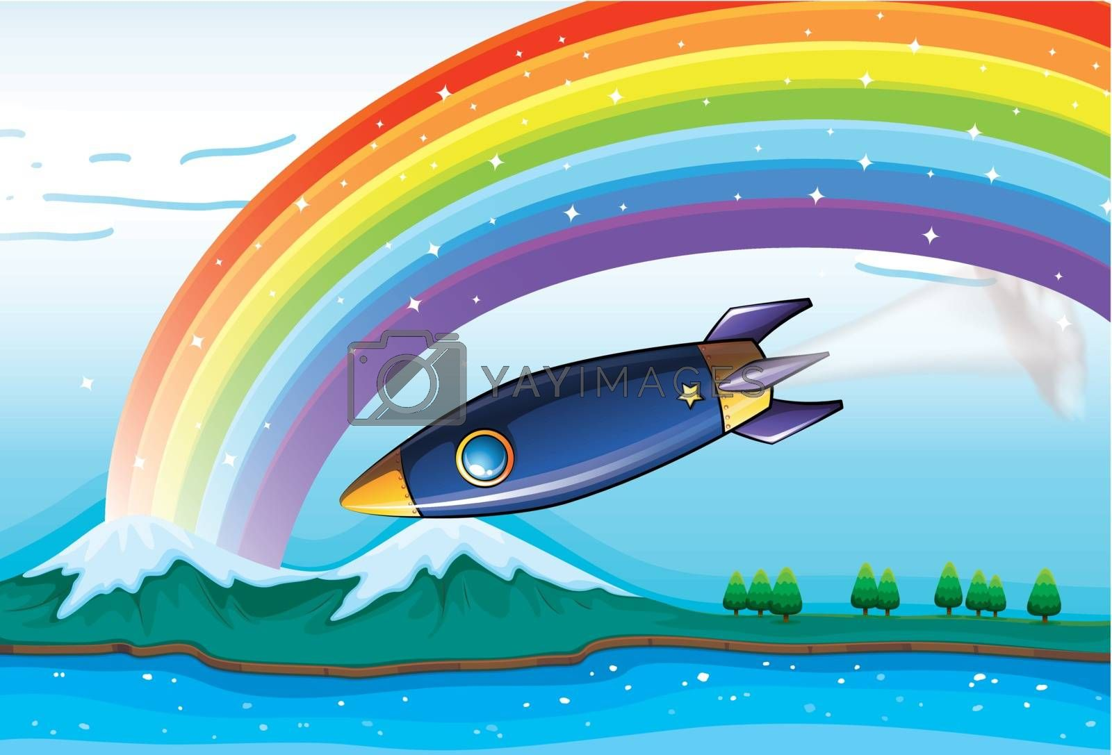 Illustration of a rainbow with sparkling stars and an aircraft