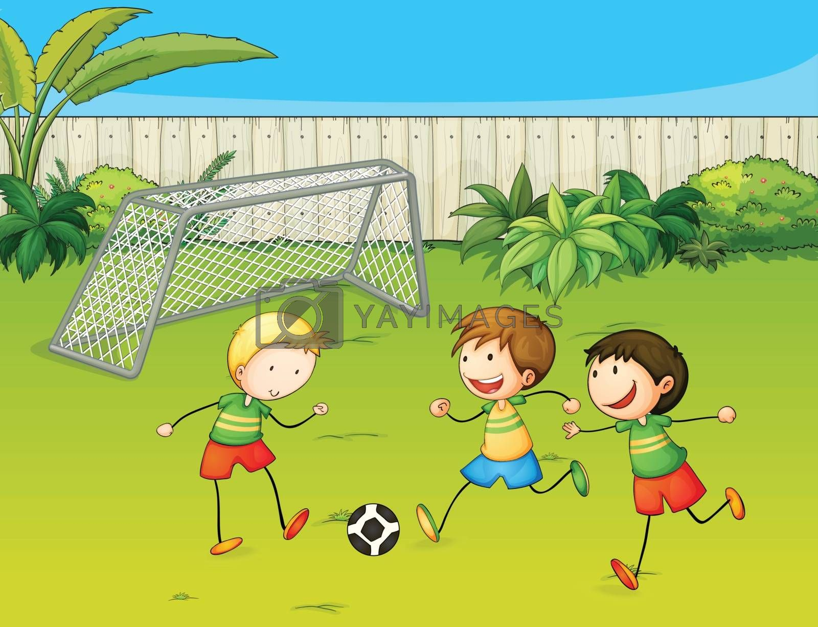Illustration of kids playing football on football ground