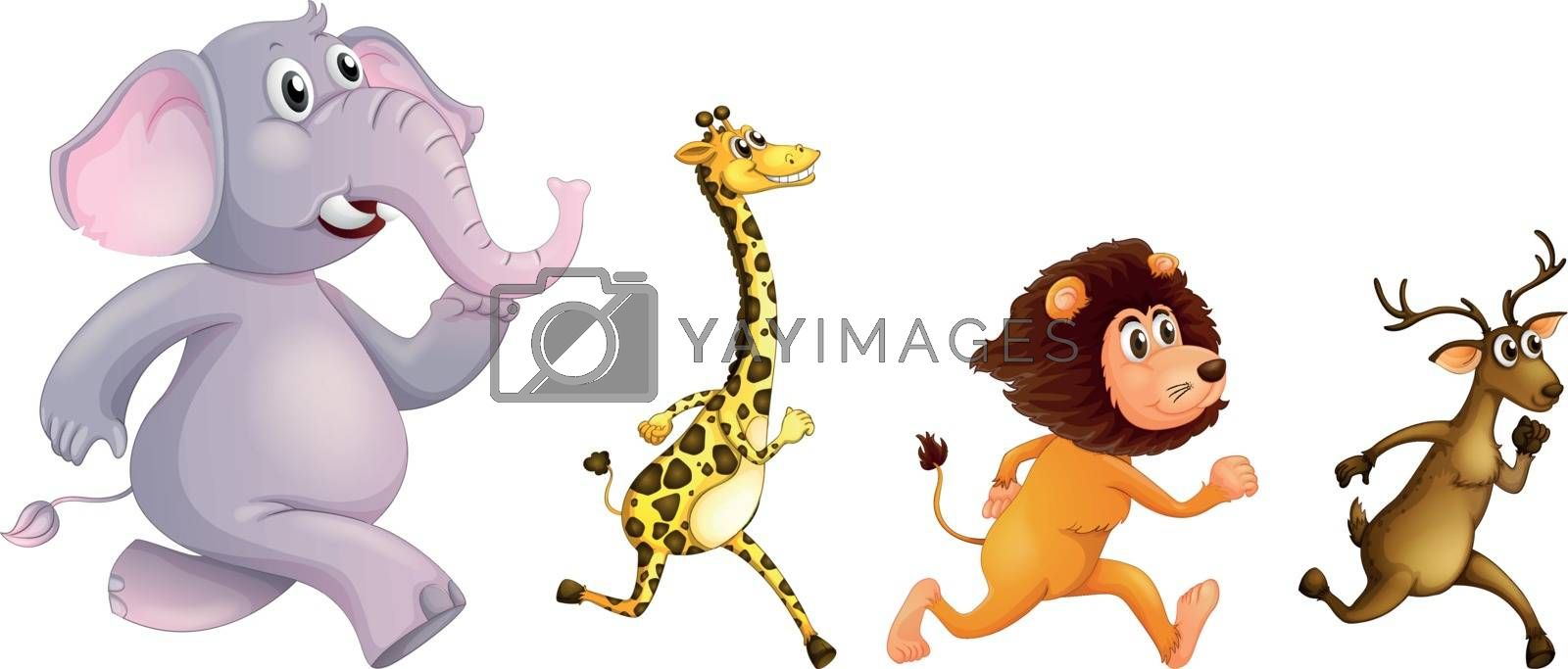 Illustration of the four wild animals running on a white background