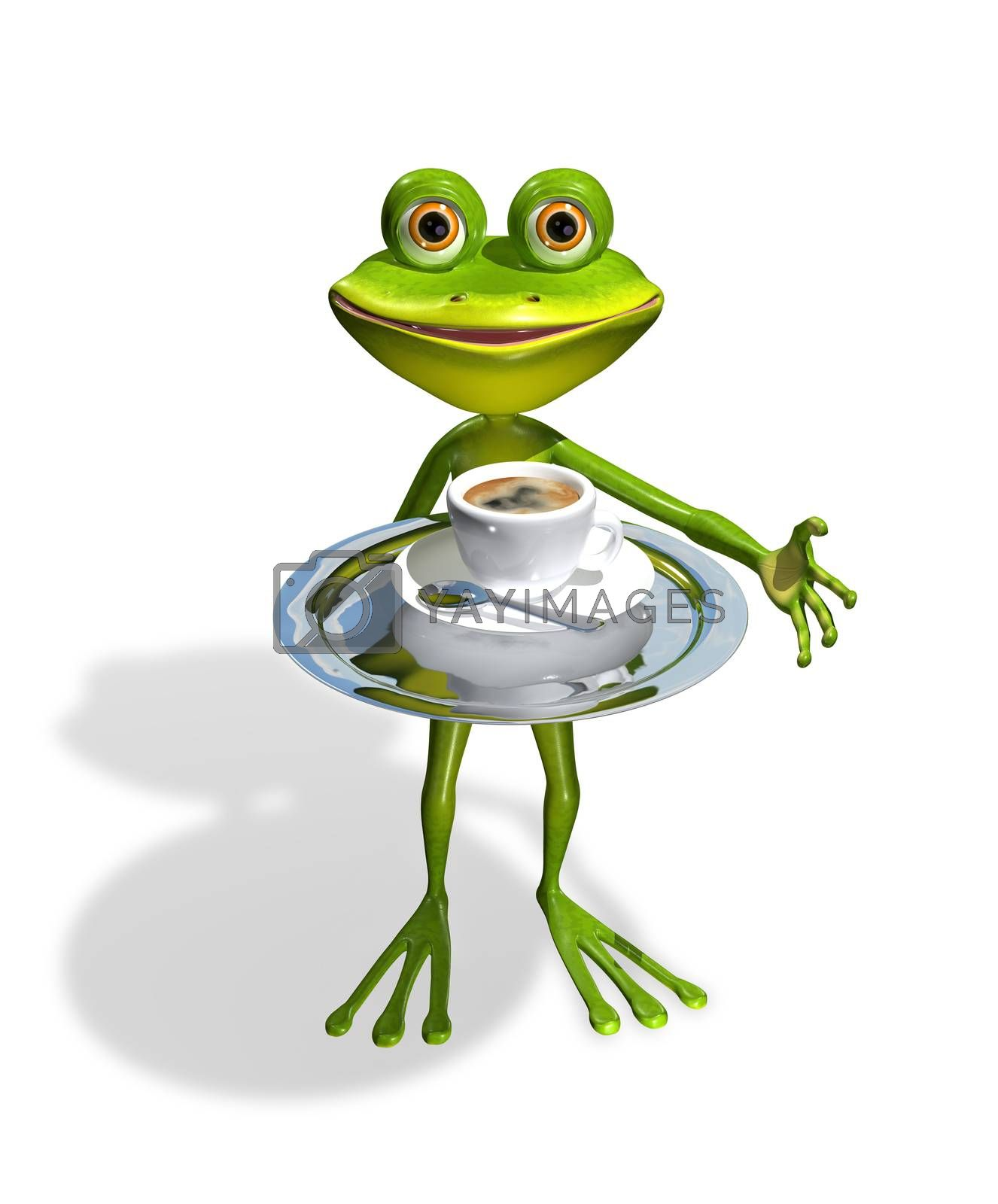 abstract illustration frog with a cup of coffee