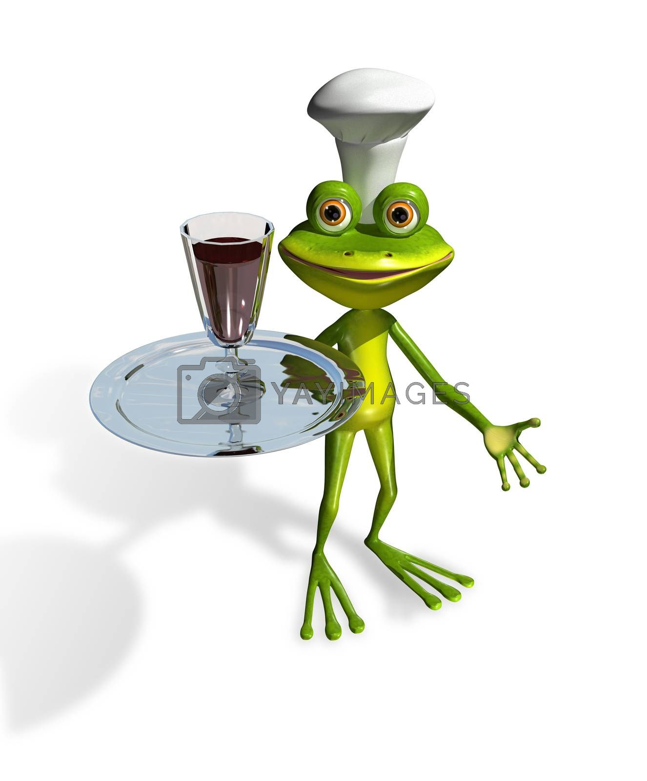 abstract illustration frog with a glass of wine on a tray