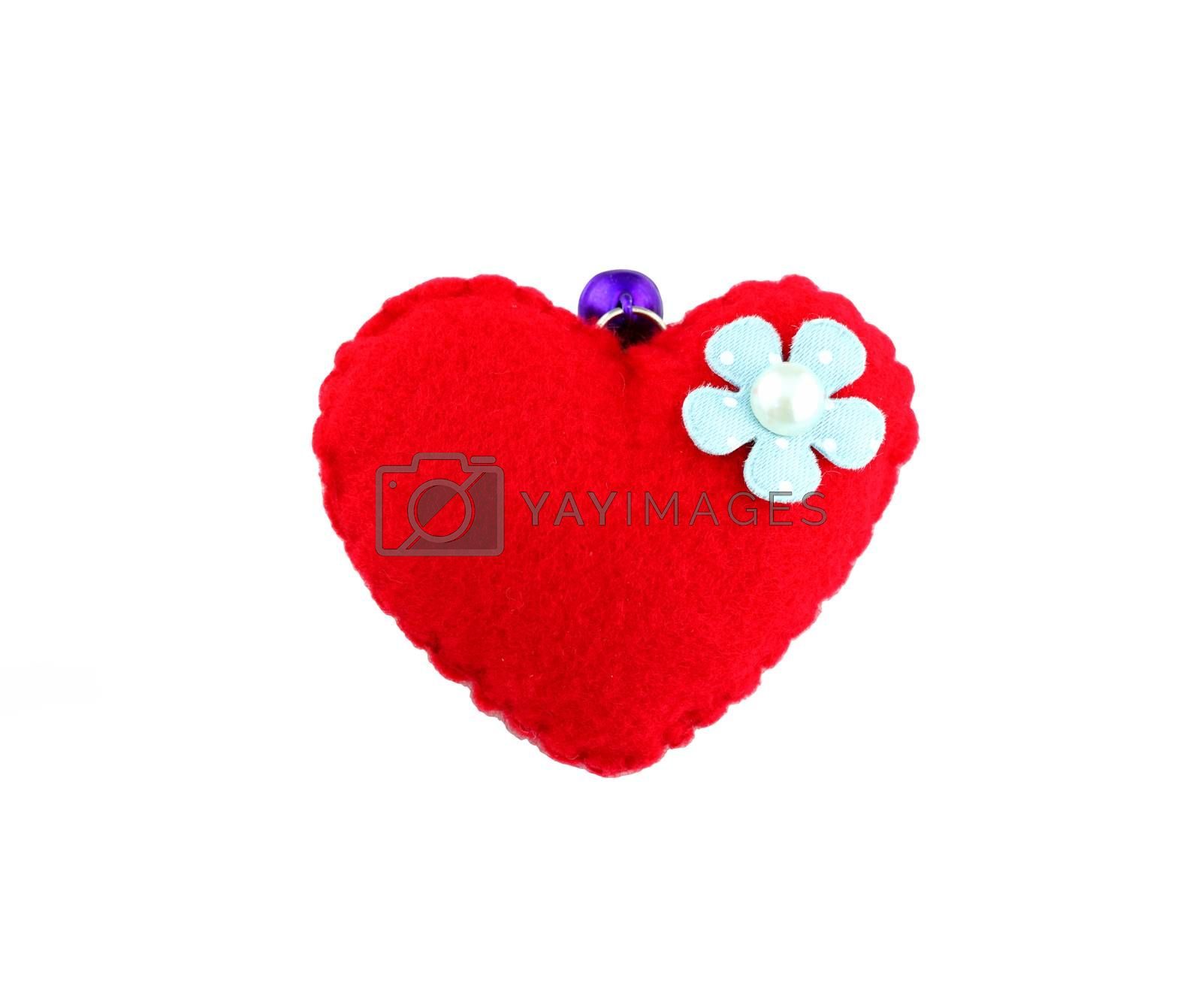 Romantic of artificial vintage red heart on white background.