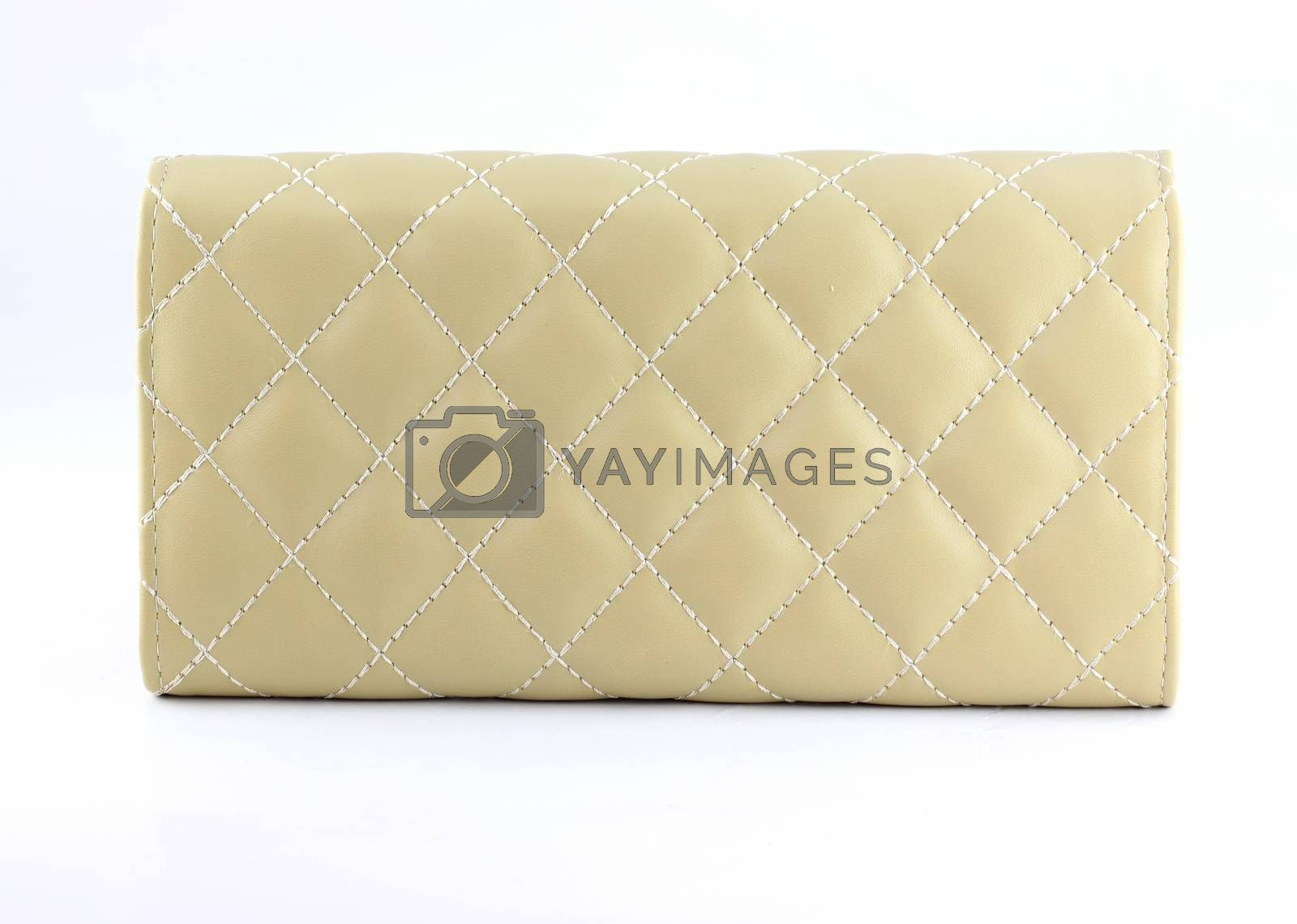 Cream color wallet of texture leather isolated on white background.