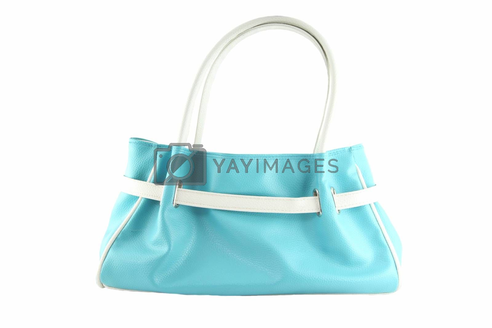 Pale blue handbag of texture leather isolated on white background.