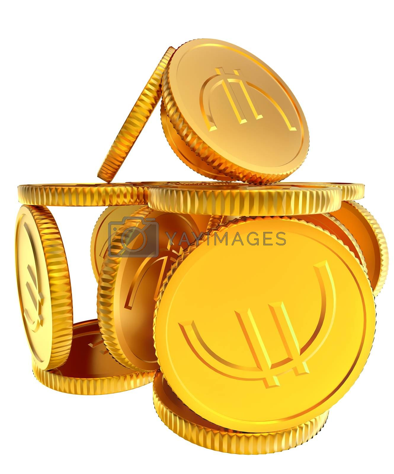 Stacks of golden EURO coins on white background