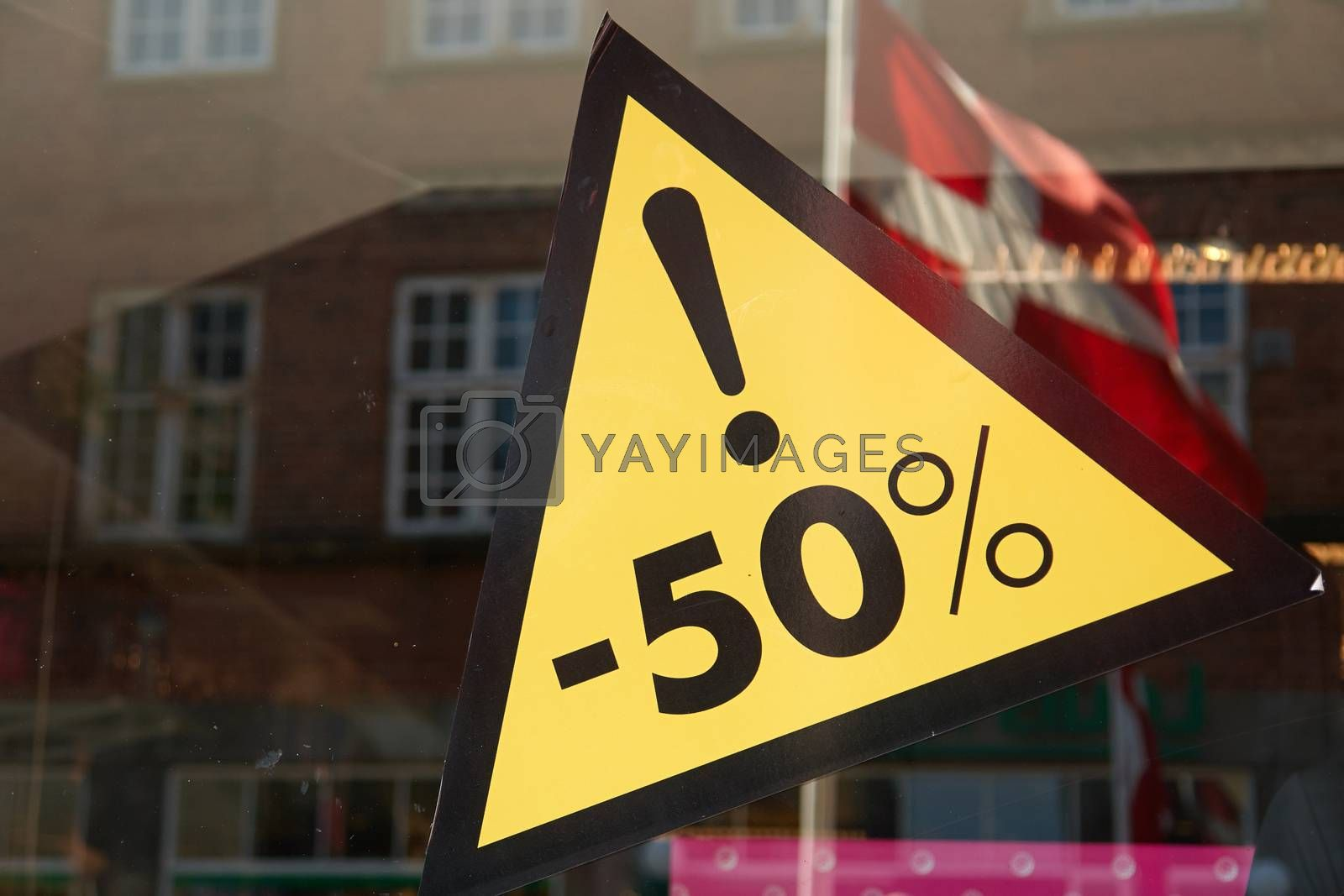 Sale special offer discount seasonal sign 50 percent off the price