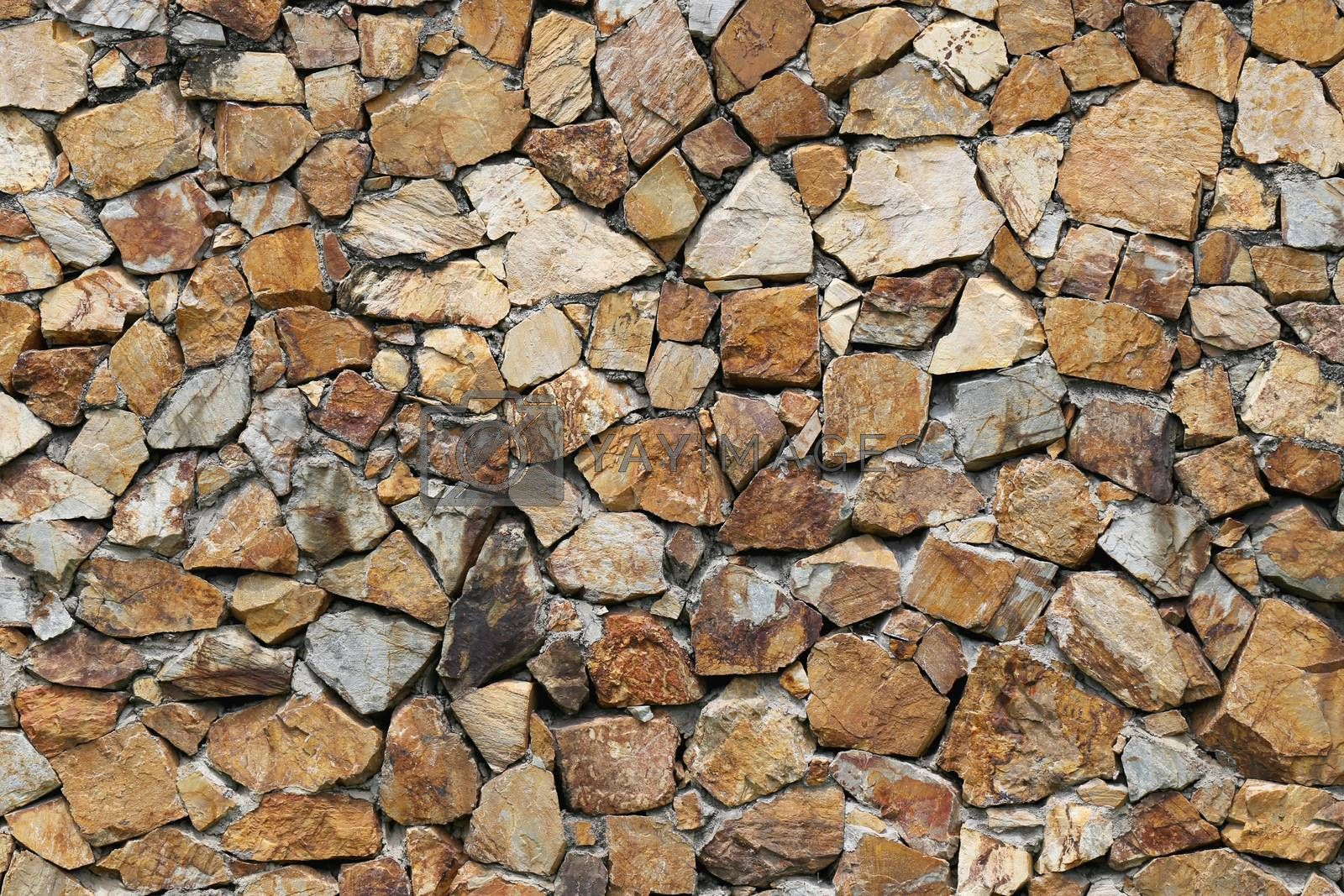 Brown stone wall for background.