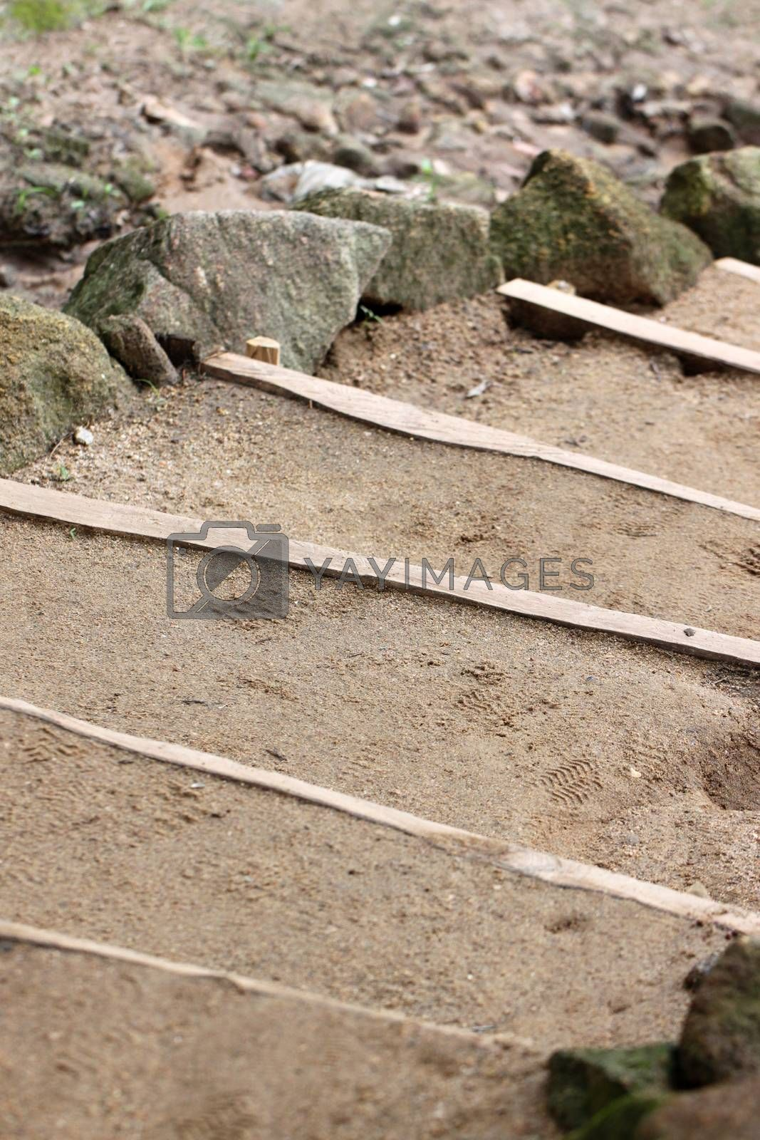 Stairs were made of sandy soil. by PiyaPhoto