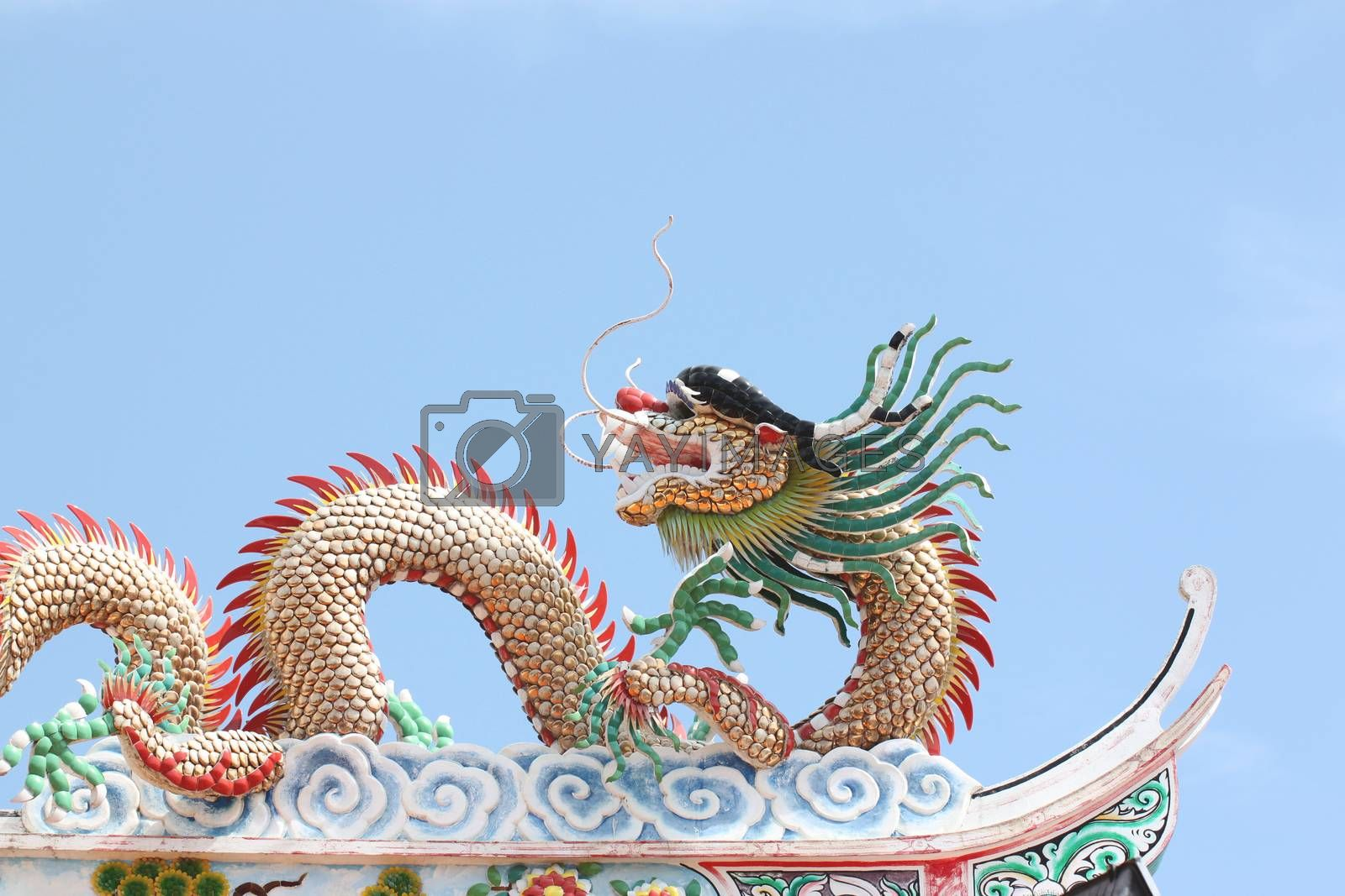 Dragon sculpture in Chinese temple on blue sky background,Thailand.