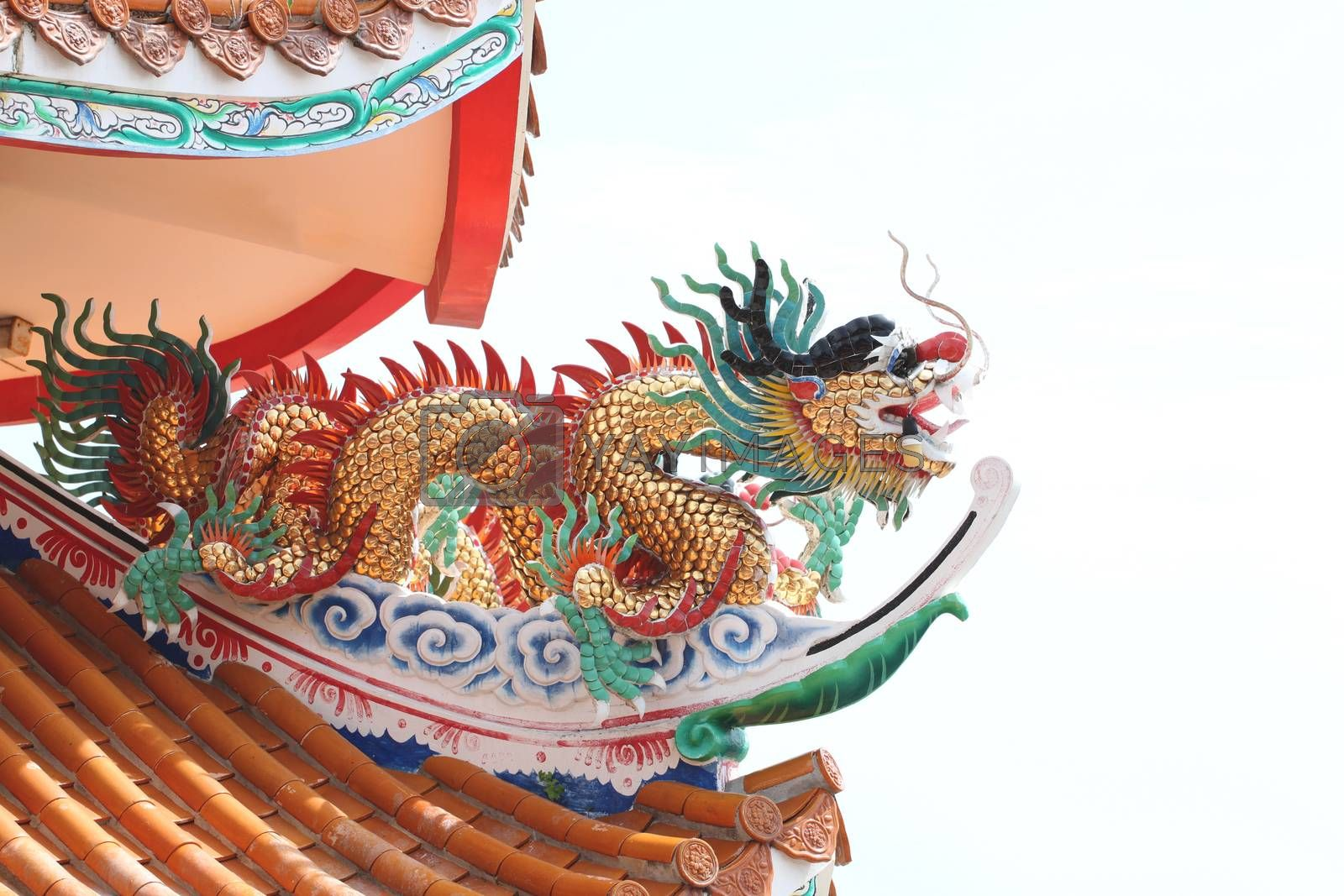 Dragon sculpture in Chinese temple,Thailand.