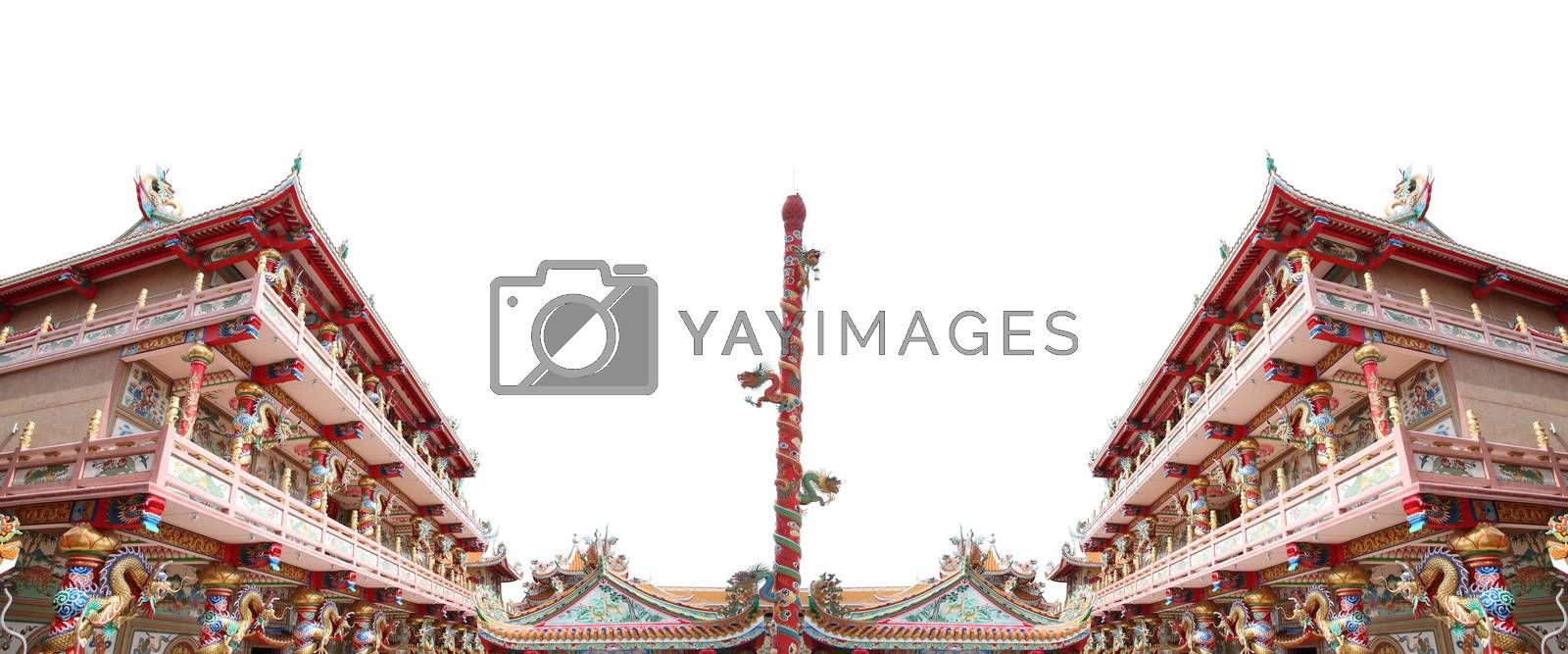 Chinese temple in art sculpture for interior background,Thailand.