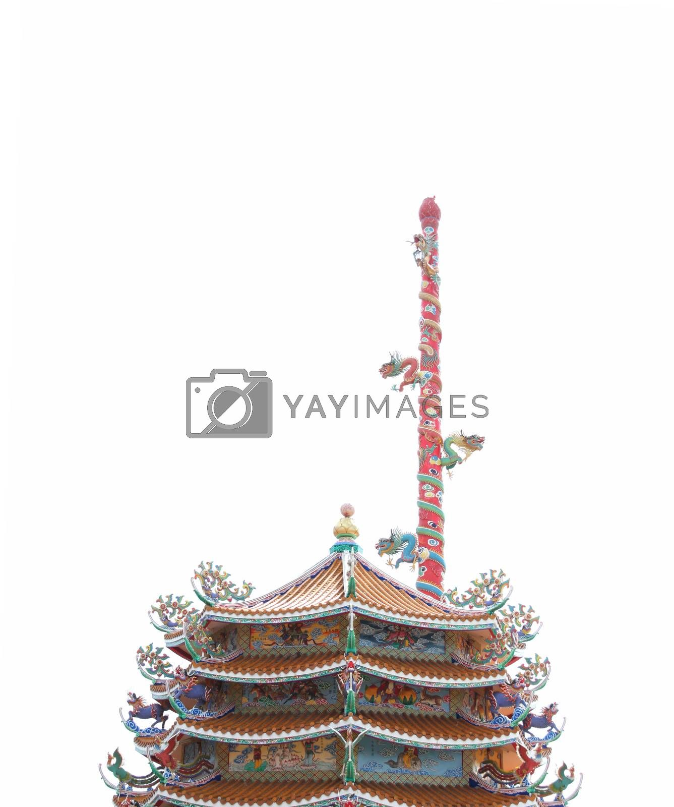 pillar of dragon sculpture in Chinese temple. by PiyaPhoto