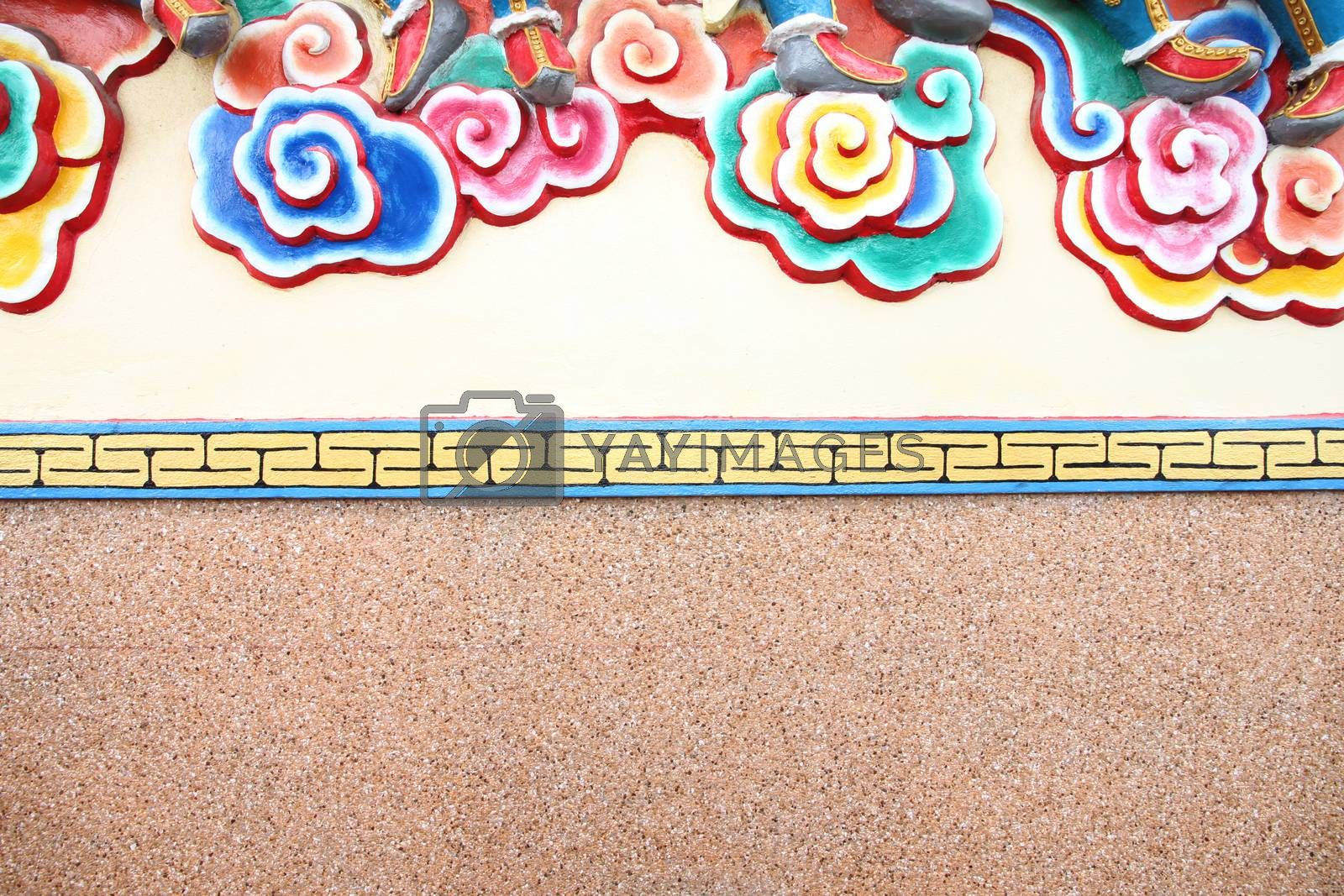 pattern art on a wall in Chinese temple. by PiyaPhoto