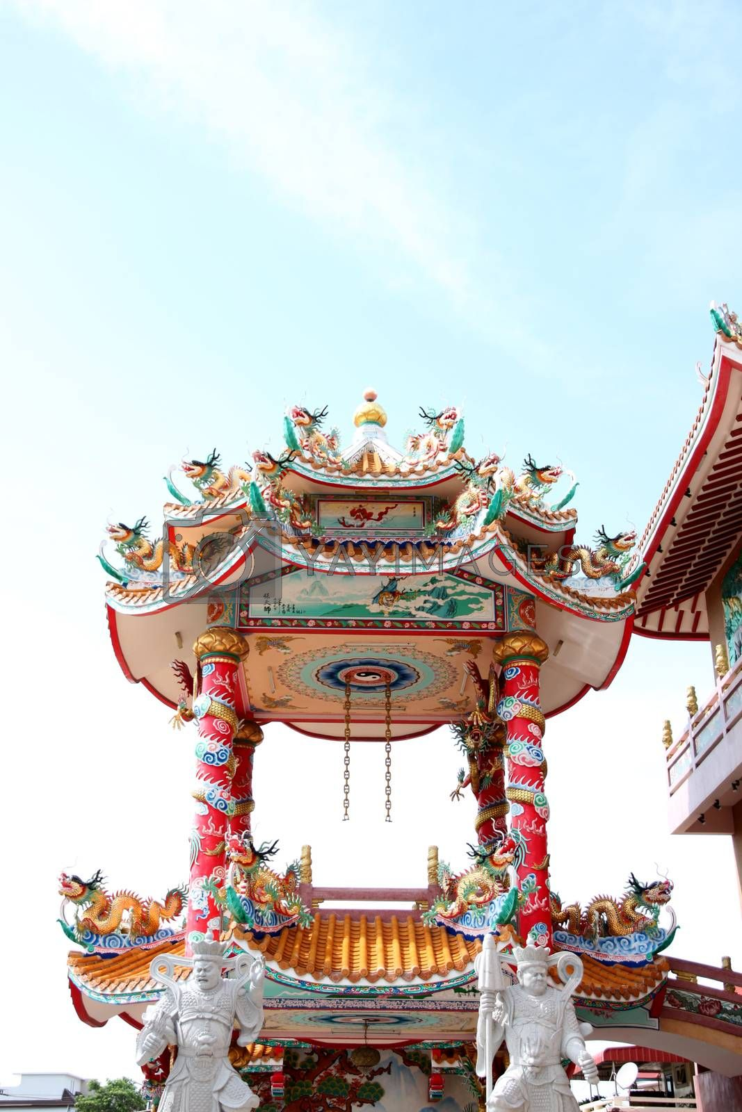 Pavilion of art in the Chinese temple. by PiyaPhoto
