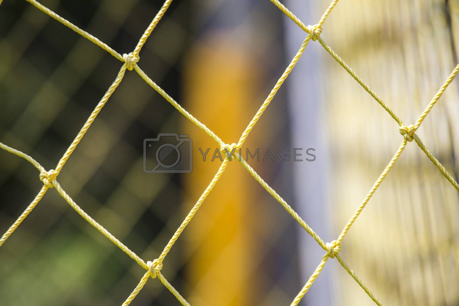 Soccer goal net with blurry background
