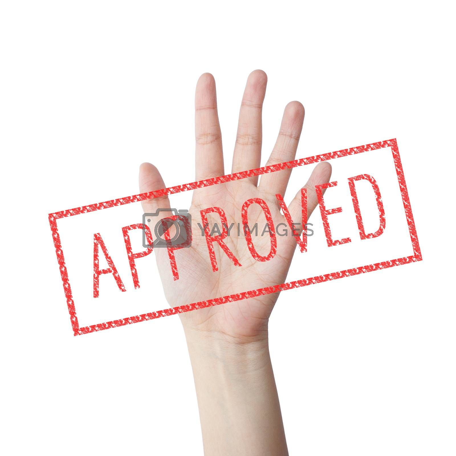Approved red stamp hand concept isolated white background