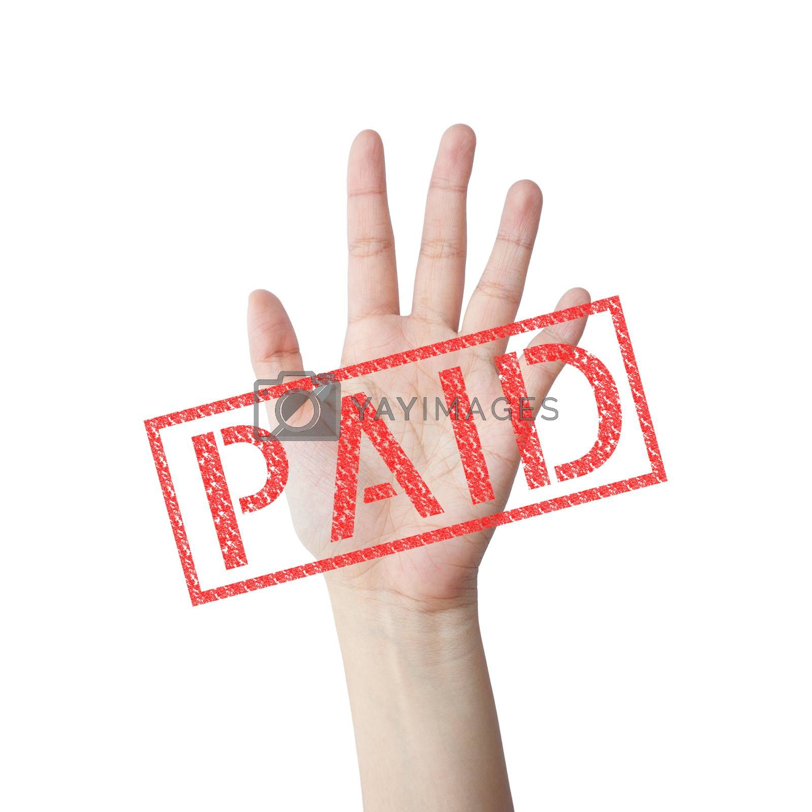 PAID red stamp hand concept isolated white background