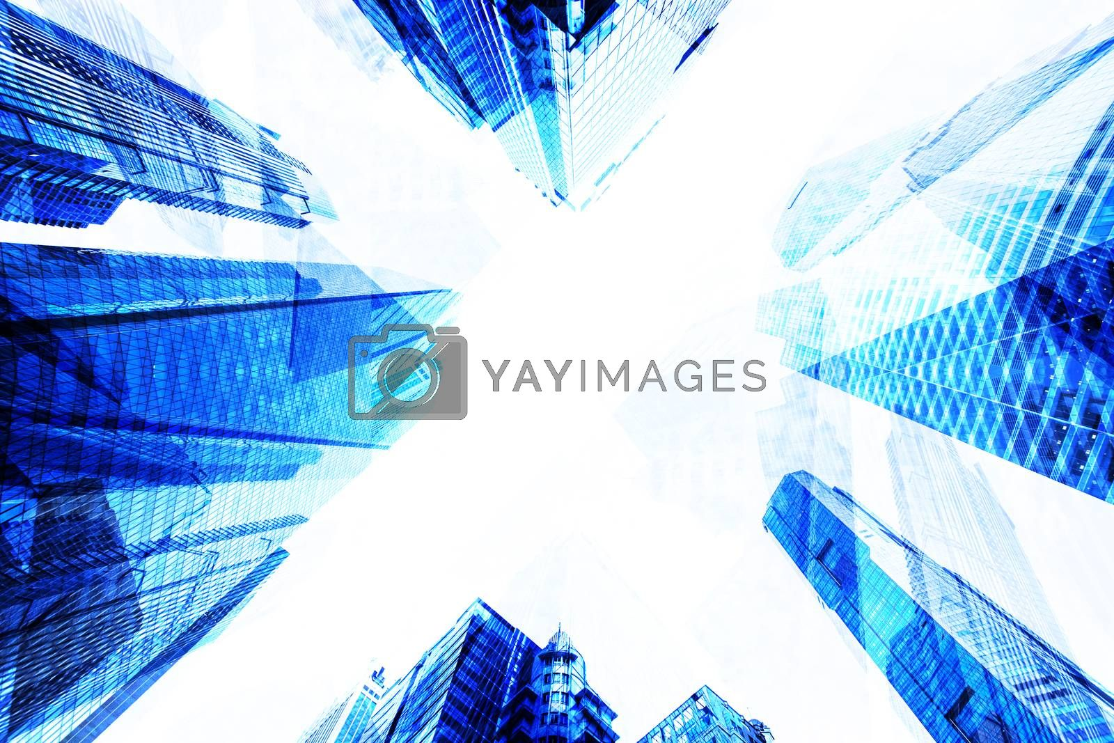 Modern building business to top sky view abstract background