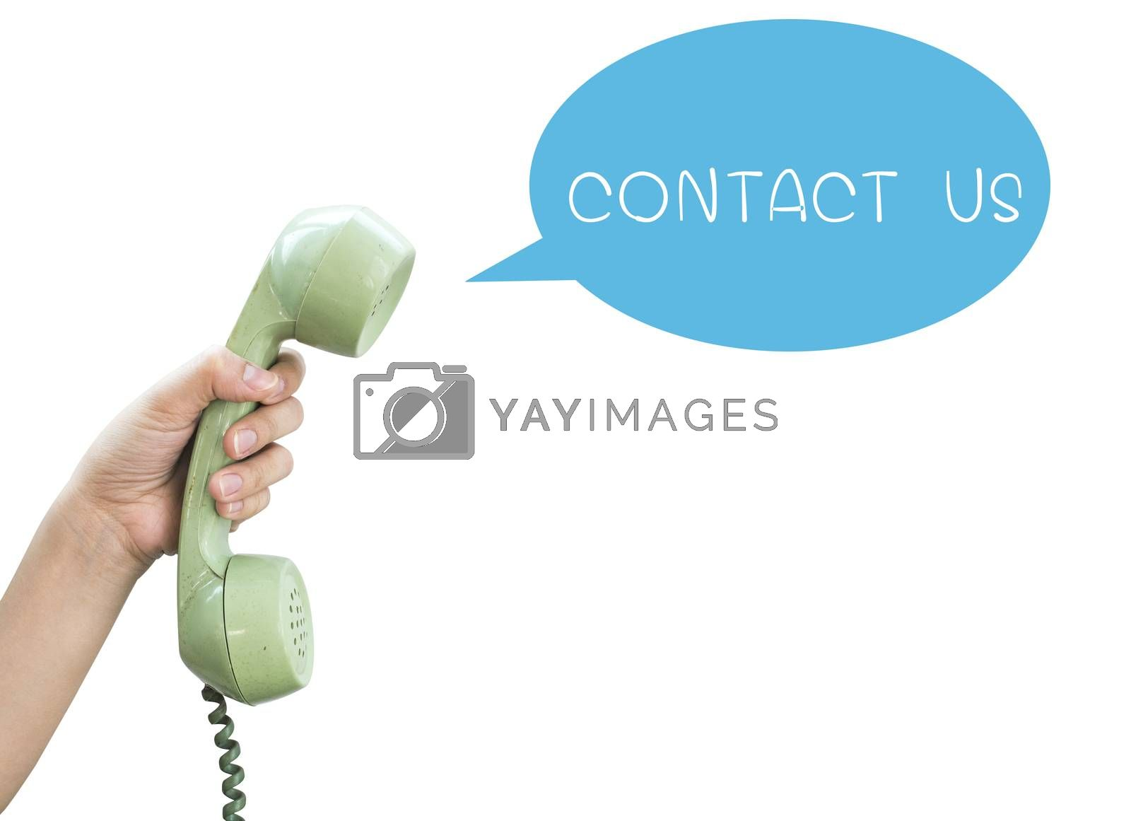 Contact Us. Hand hold vintage telephone isolated on white background