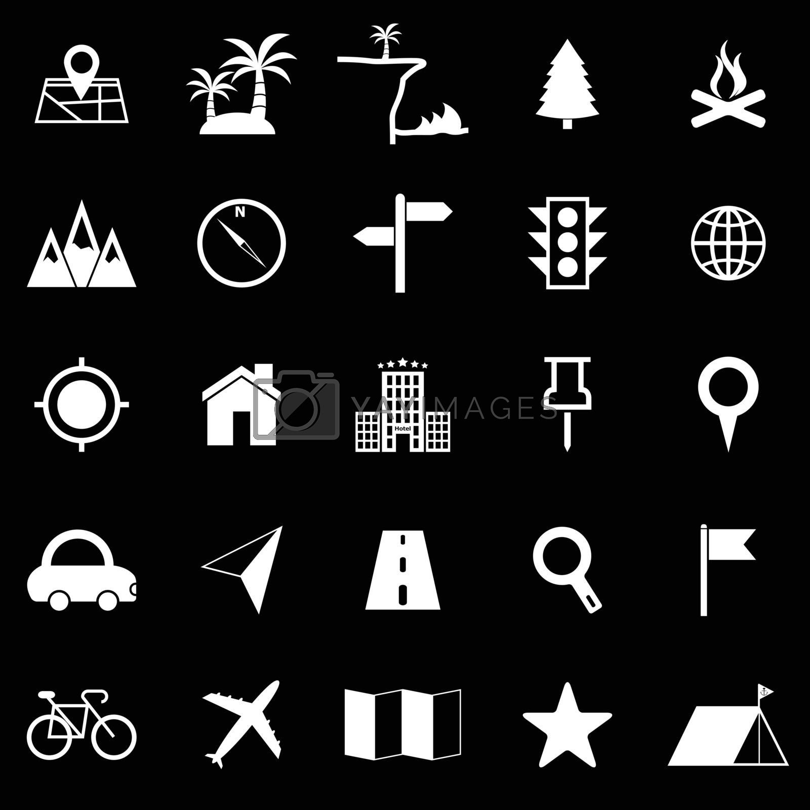 Location icons on black background, stock vector
