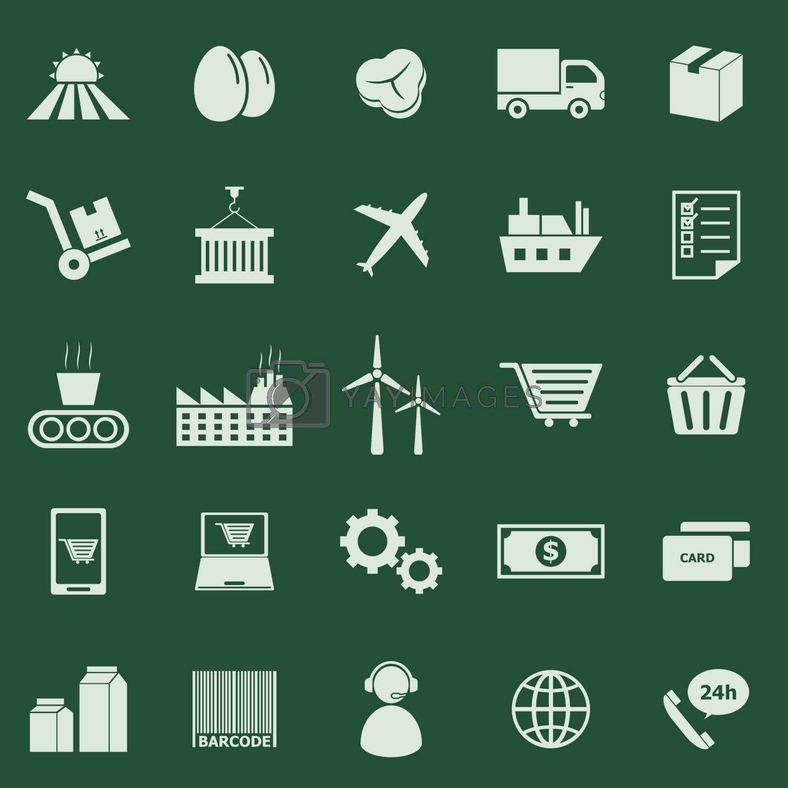 Supply chain color icons on green background, stock vector