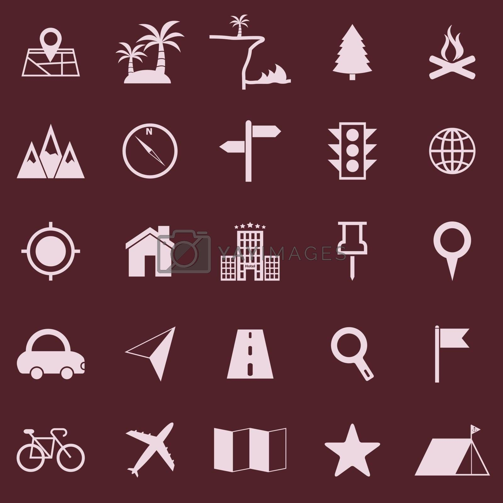 Location color icons on red background, stock vector
