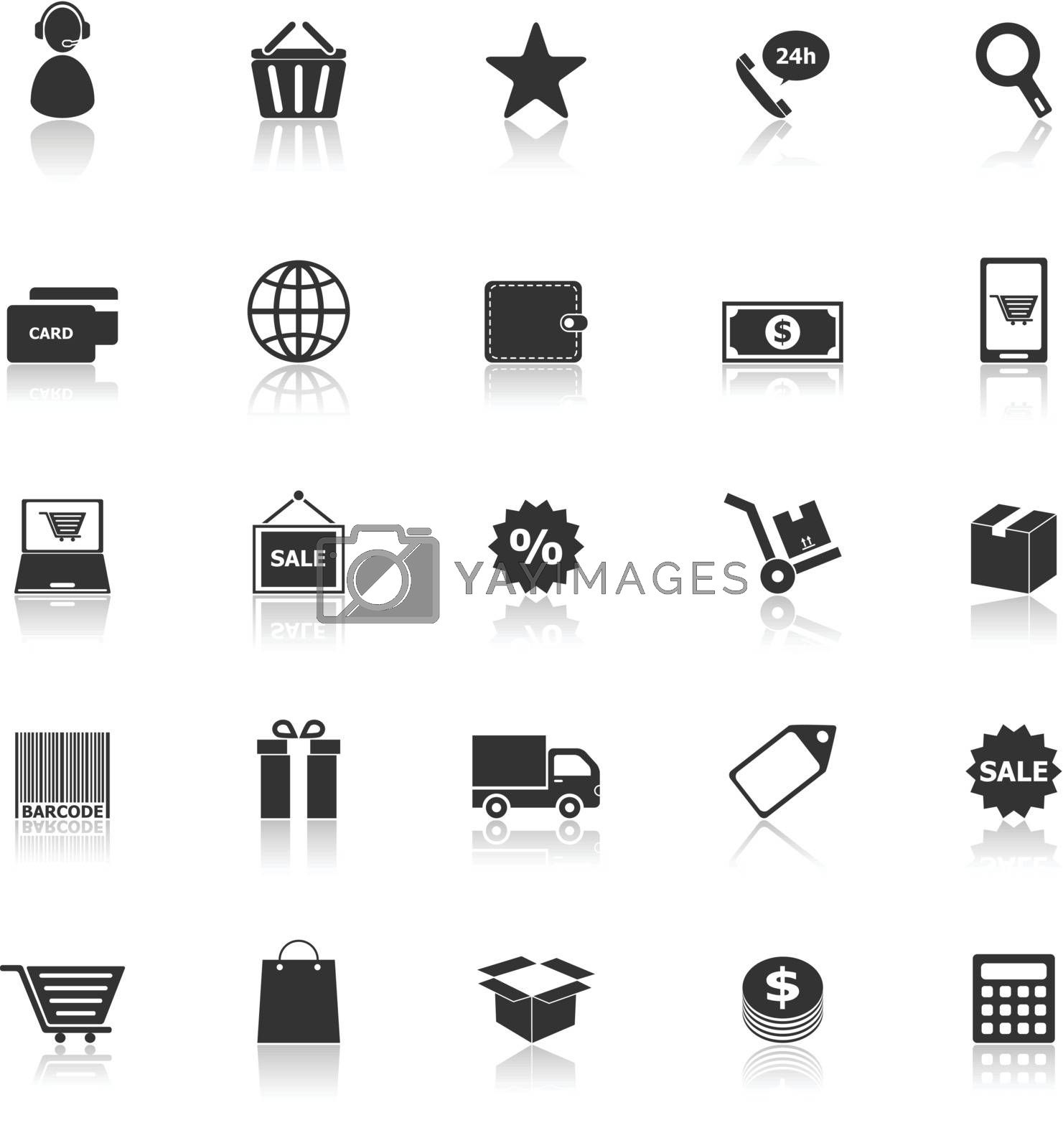 E-commerce icons with reflect on white background, stock vector