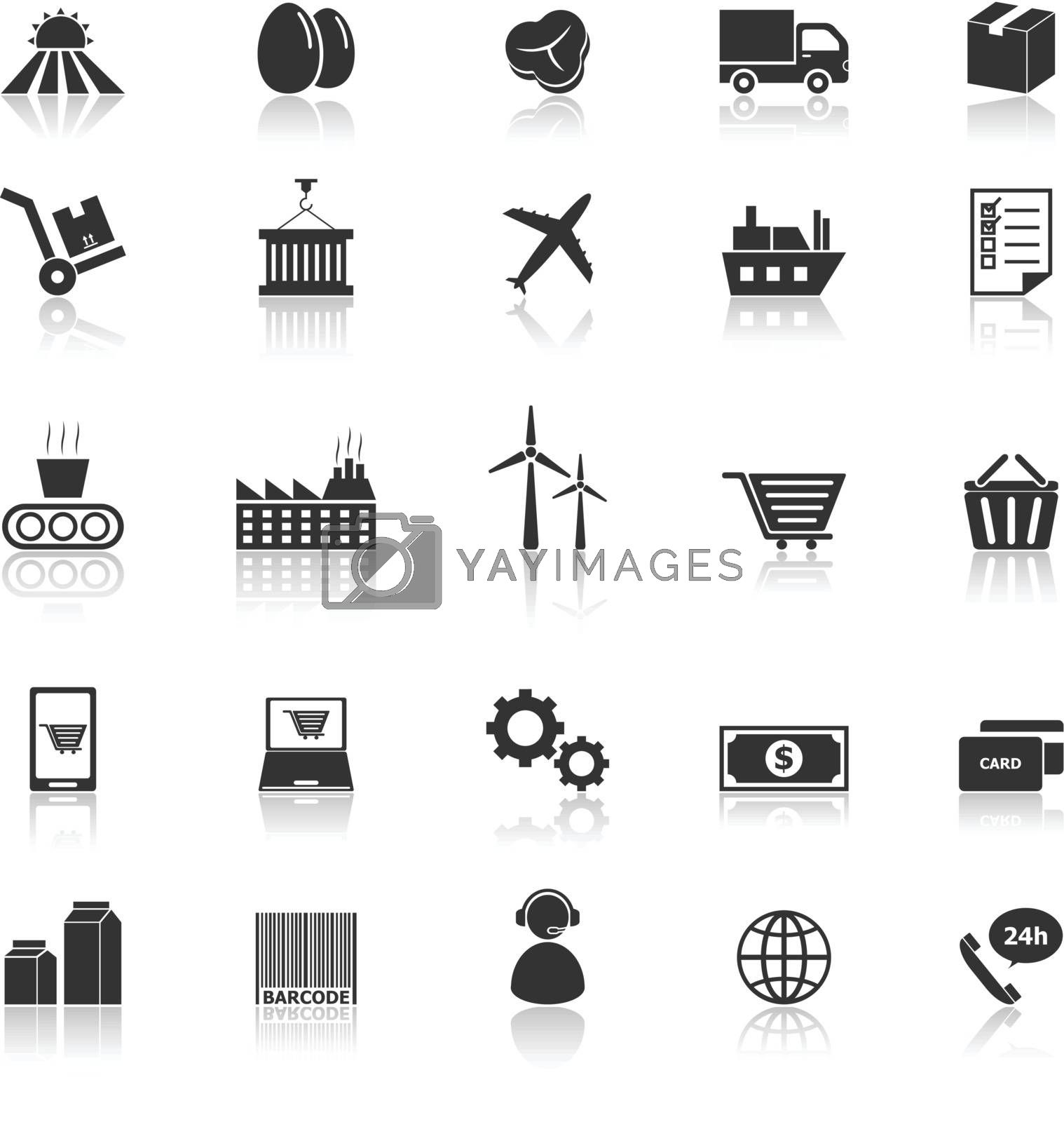 Supply chain icons with reflect on white background, stock vector