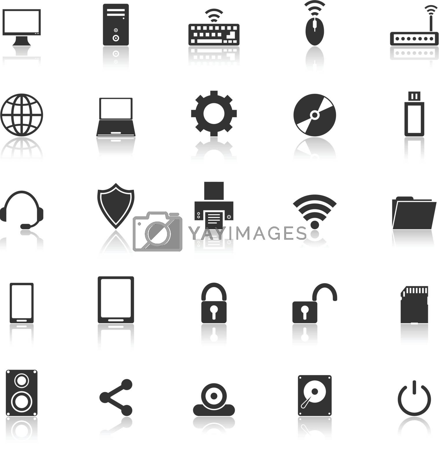 Computer icons with reflect on white backgroundd, stock vector
