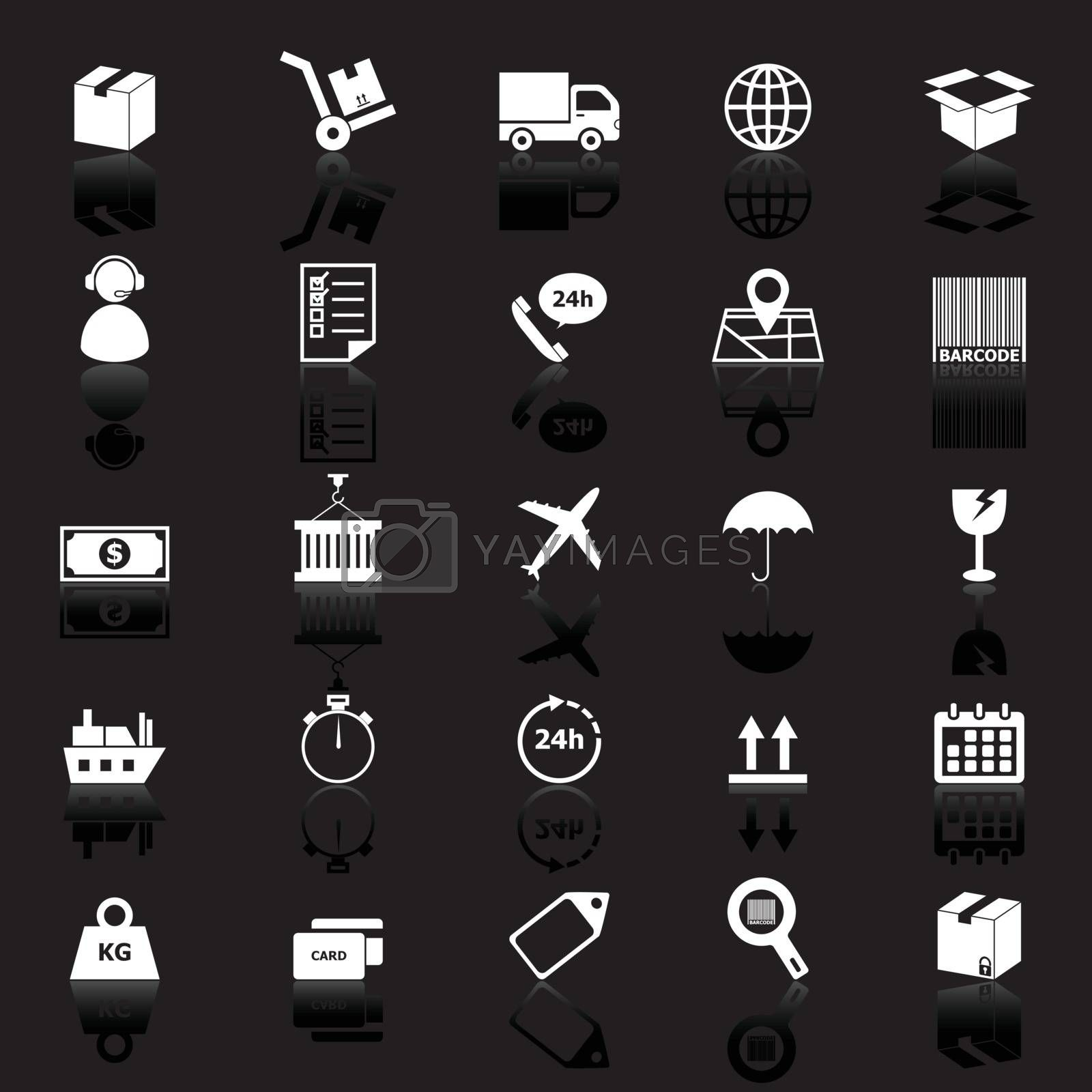 Logistics icons with reflect on black background, stock vector