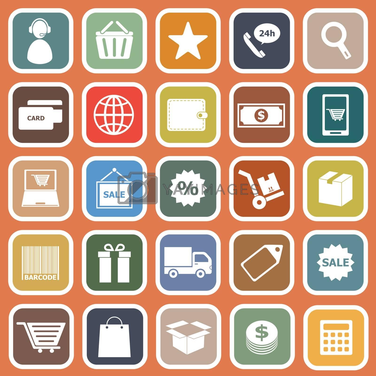 E-commerce flat icons on orange background, stock vector