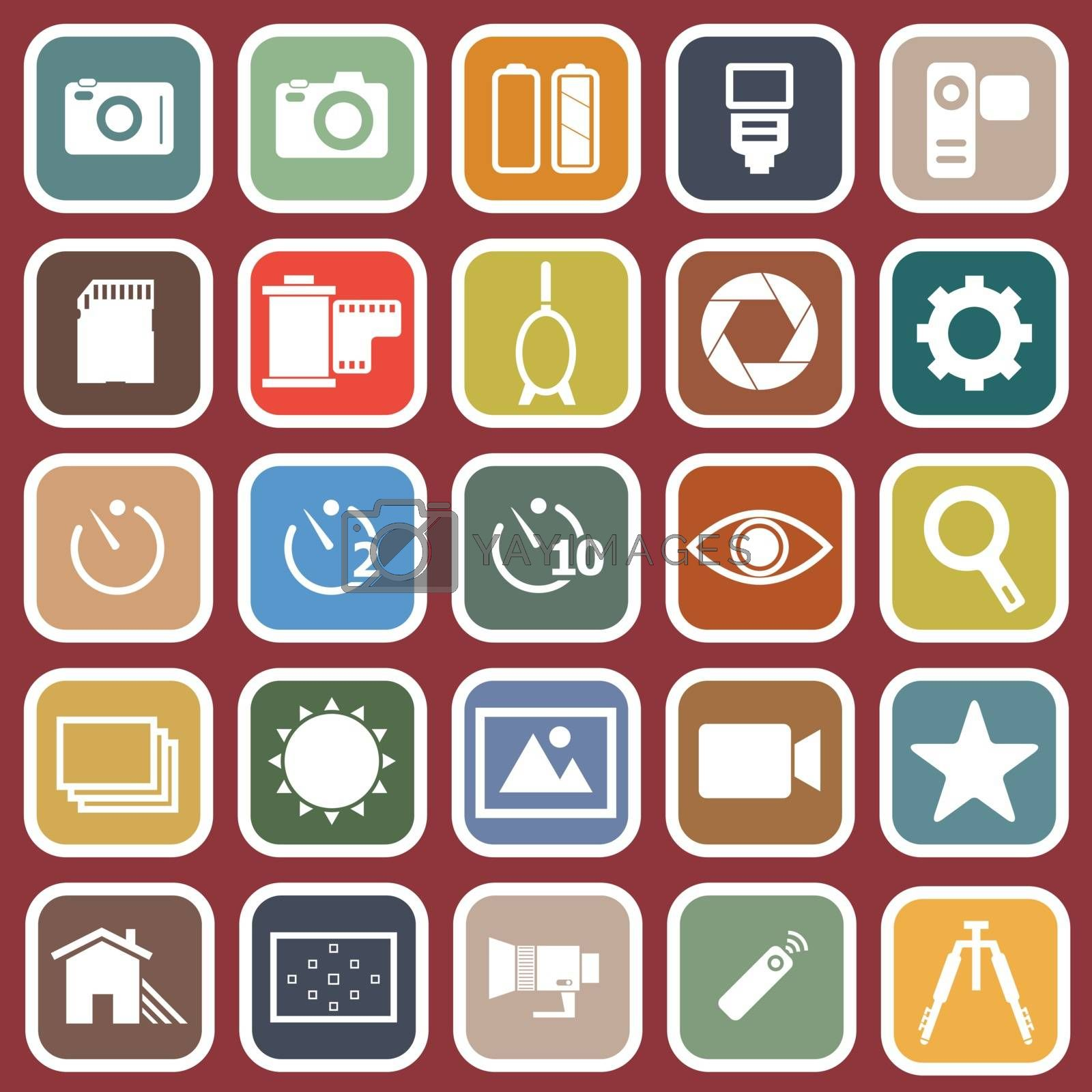 Camera flat icons on red background, stock vector