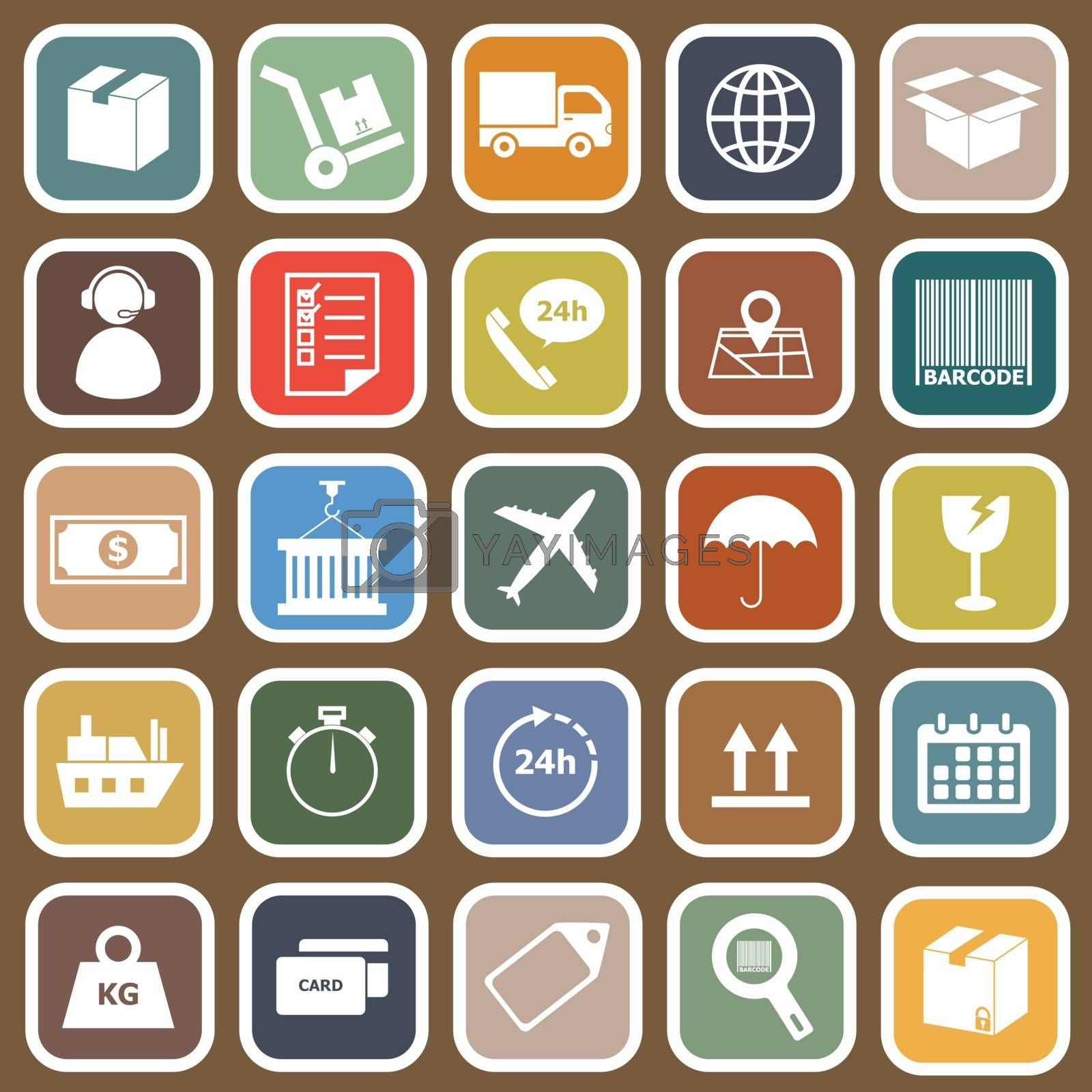 Logistics falt icons on brown background, stock vector