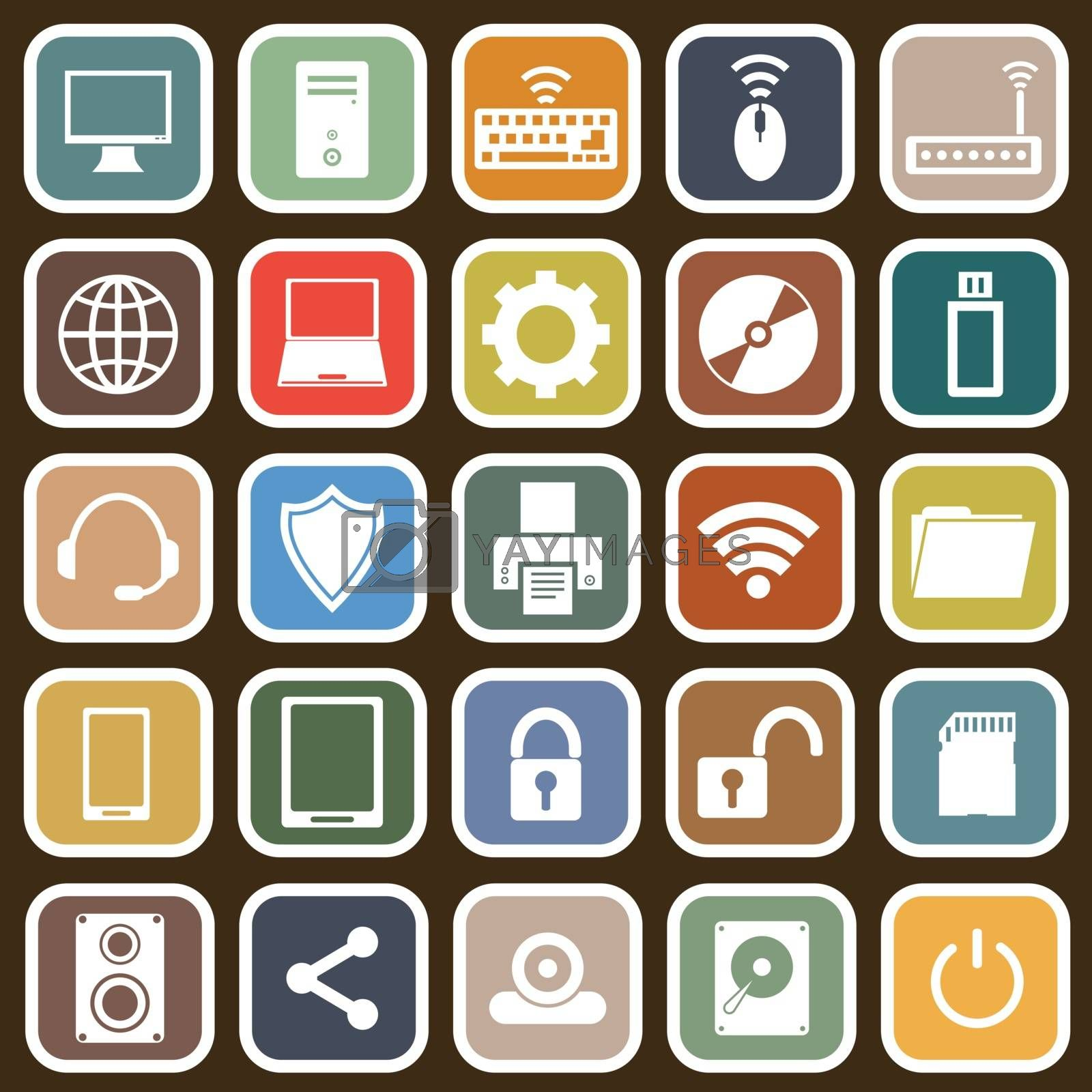 Computer flat icons on brown background, stock vector