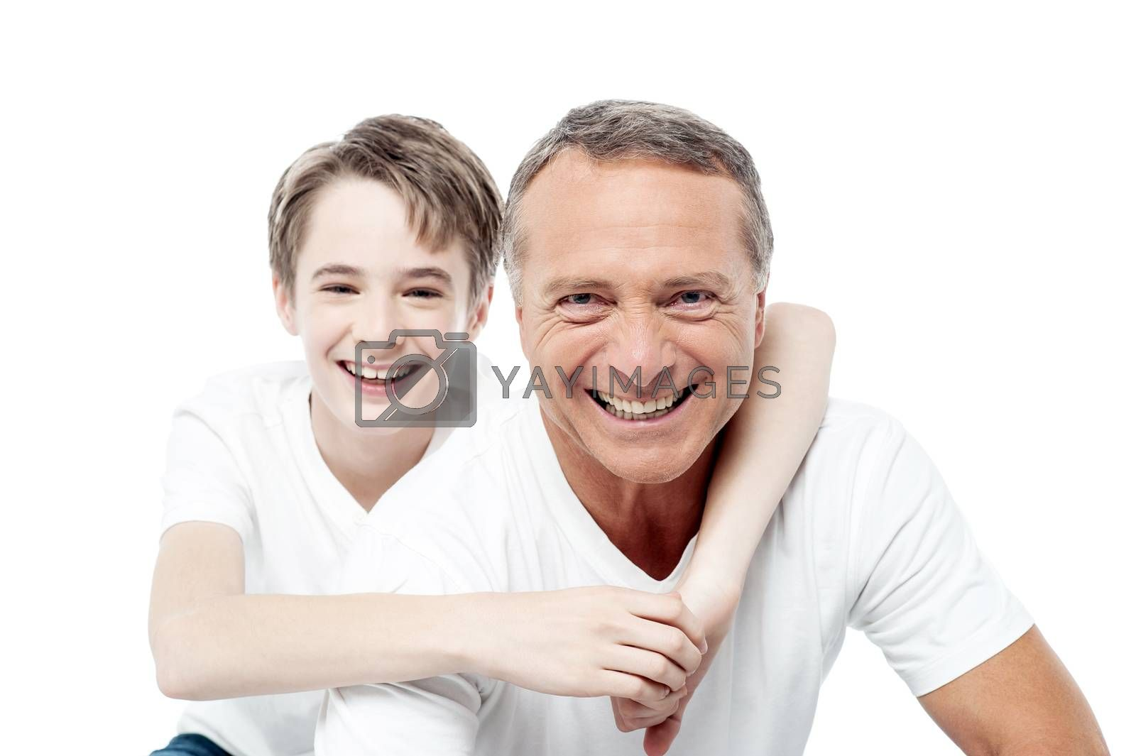 Father with son happy smiling over white background