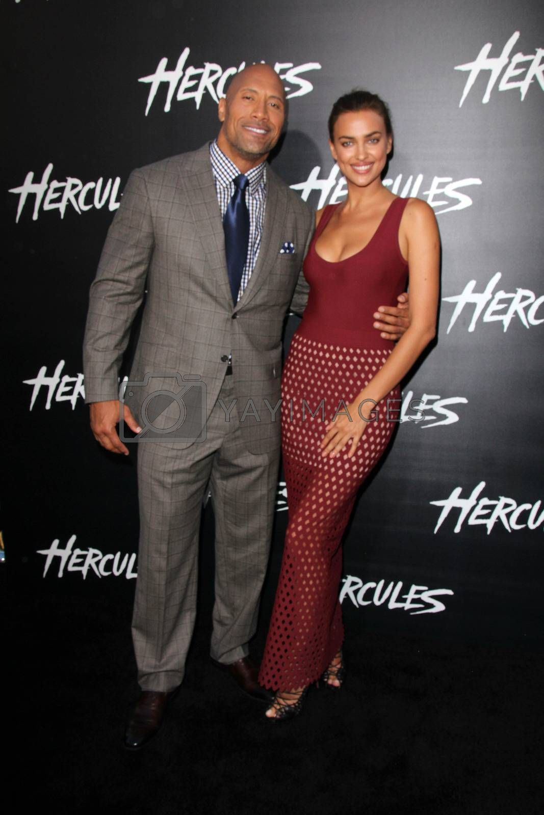 """Royalty free image of Dwayne Johnson, Irina Shayk at the """"Hercules"""" Los Angeles Premiere, TCL Chinese Theater, Hollywood, CA  07-23-14/ImageCollect by ImageCollect"""