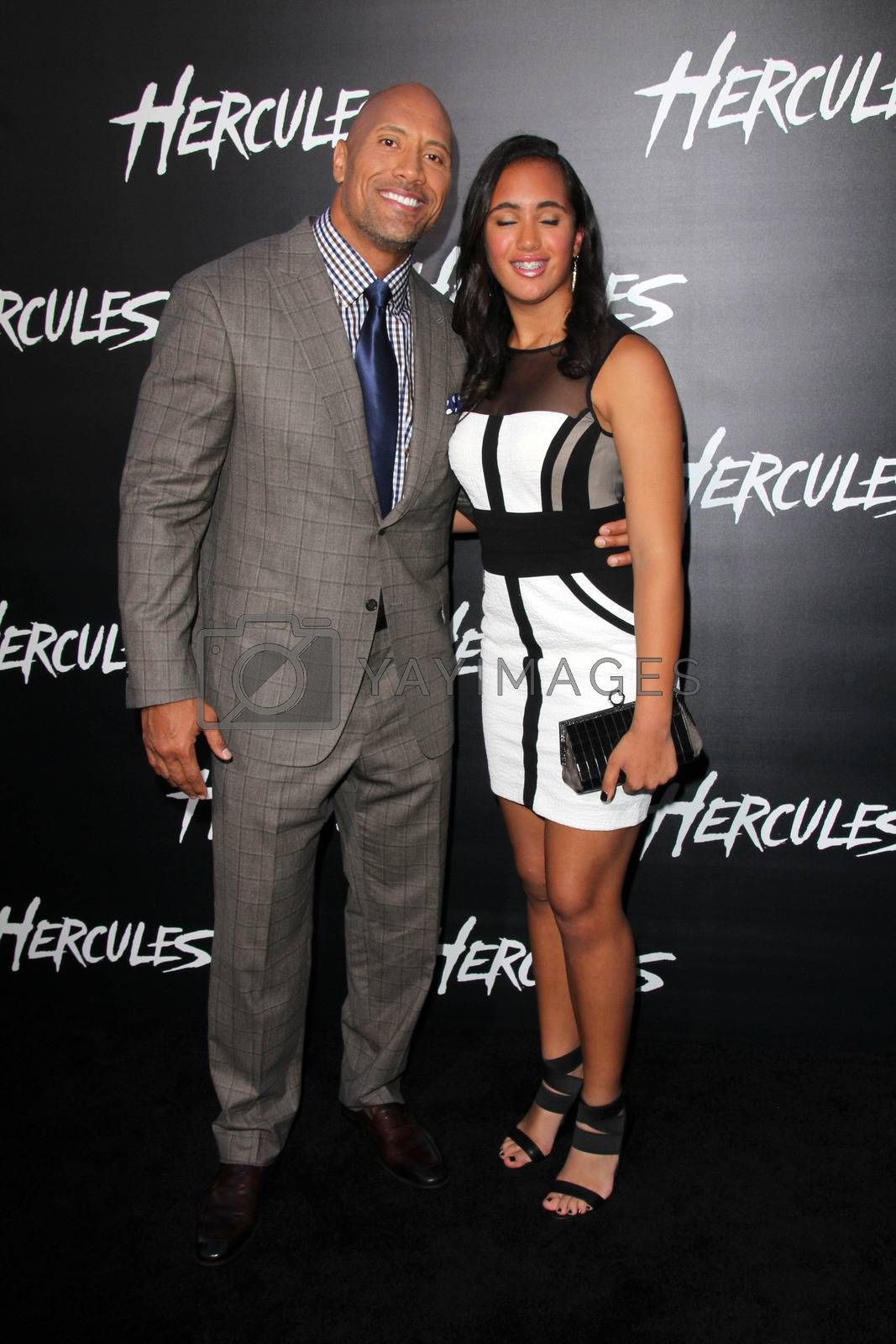 """Royalty free image of Dwayne Johnson, Simone Alexandra Johnson at the """"Hercules"""" Los Angeles Premiere, TCL Chinese Theater, Hollywood, CA  07-23-14/ImageCollect by ImageCollect"""