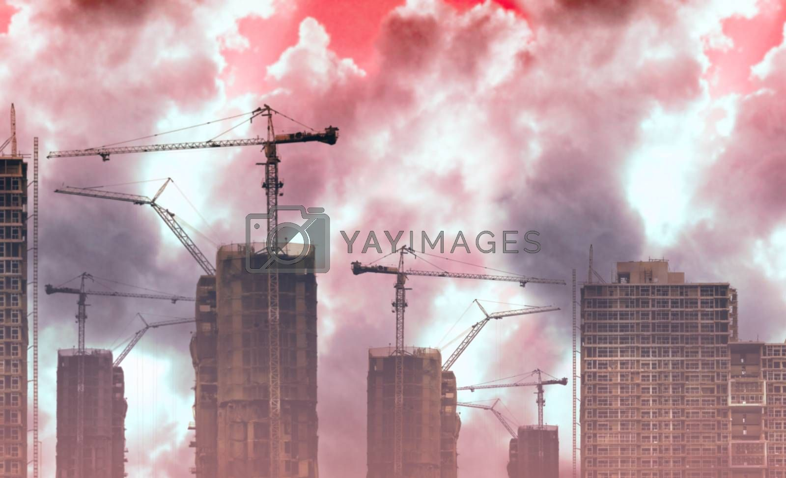Royalty free image of Abstract construction site with smoke and dust pollution background by pixbox77