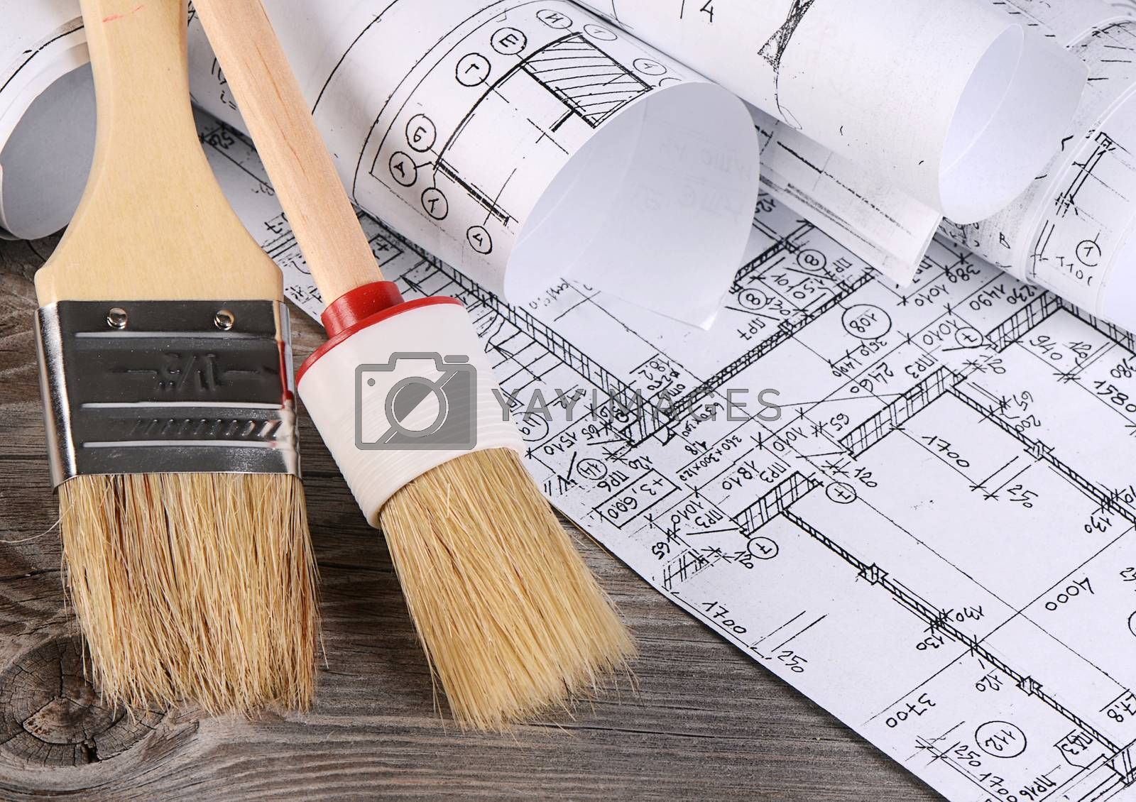 Royalty free image of Projects of houses on the background by SvetaVo