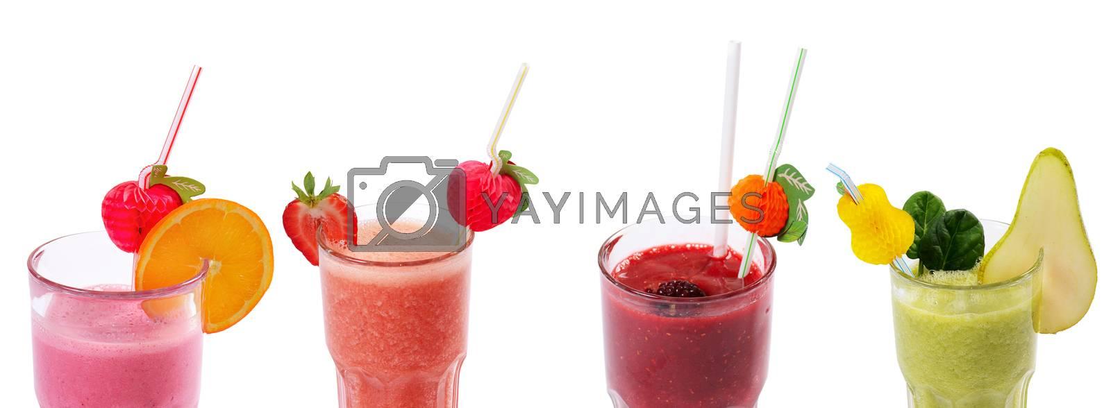 Royalty free image of Freshening strawberry smoothie  isolated on white by SvetaVo