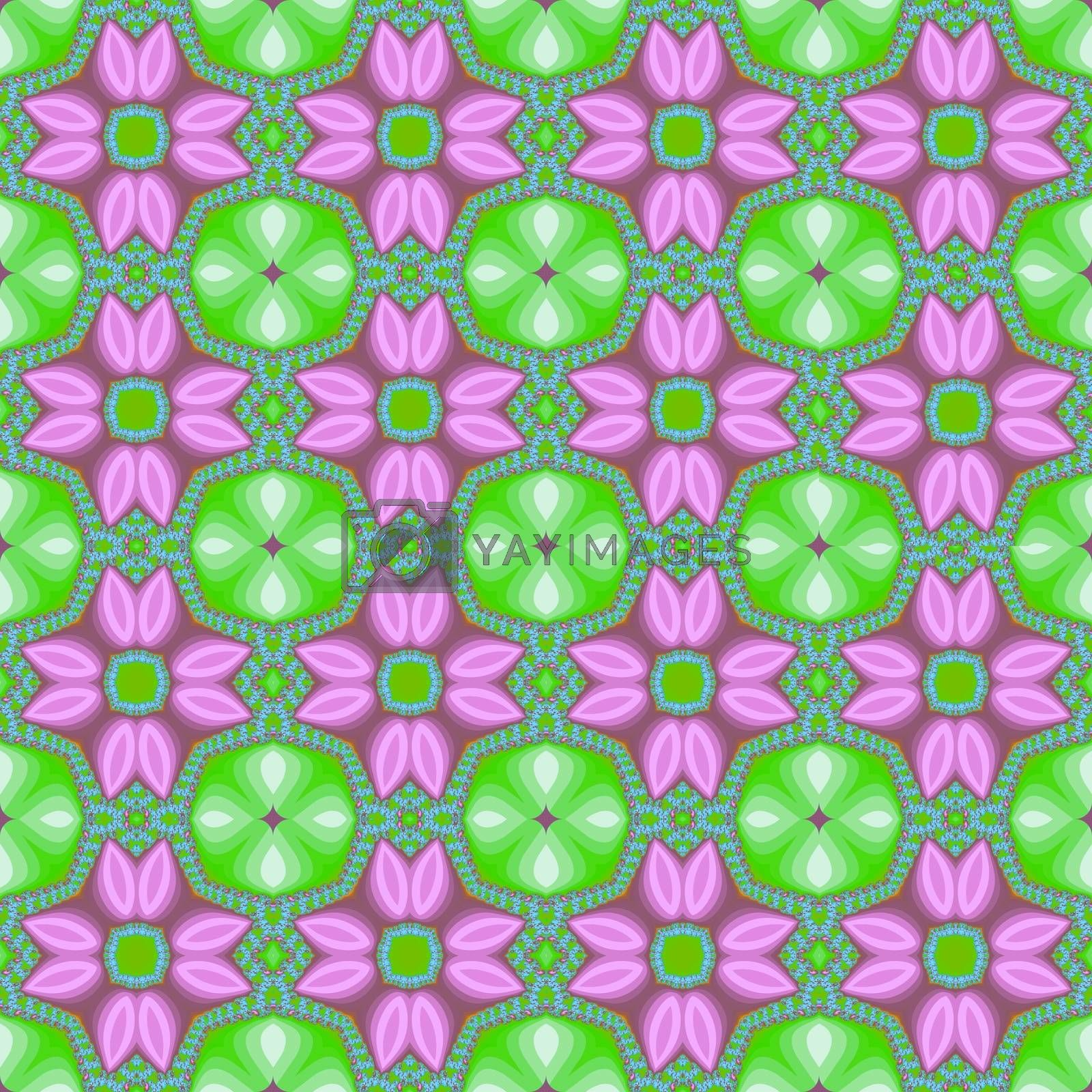 Royalty free image of Seamless fractal pattern with decorative flowers by Astronira