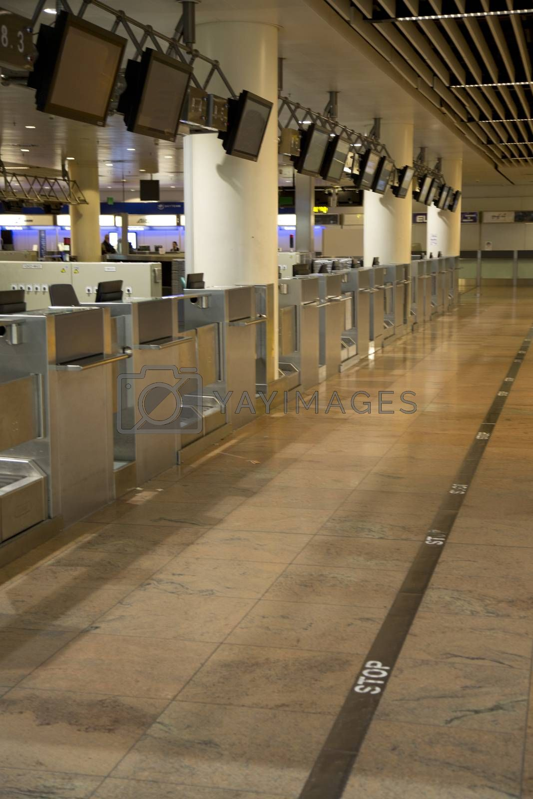 Empty departure gates in airport terminal