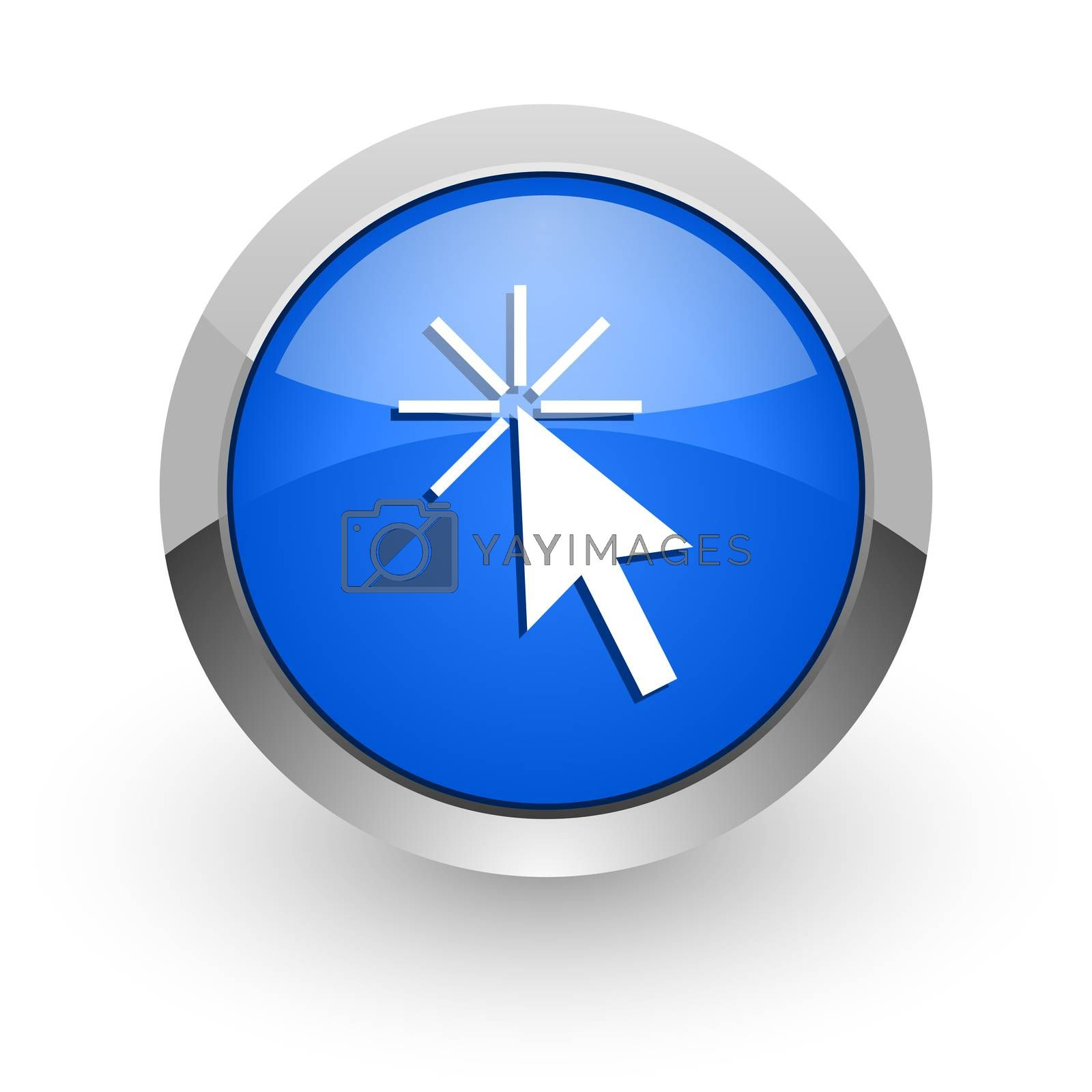 Royalty free image of click here blue glossy web icon by alexwhite