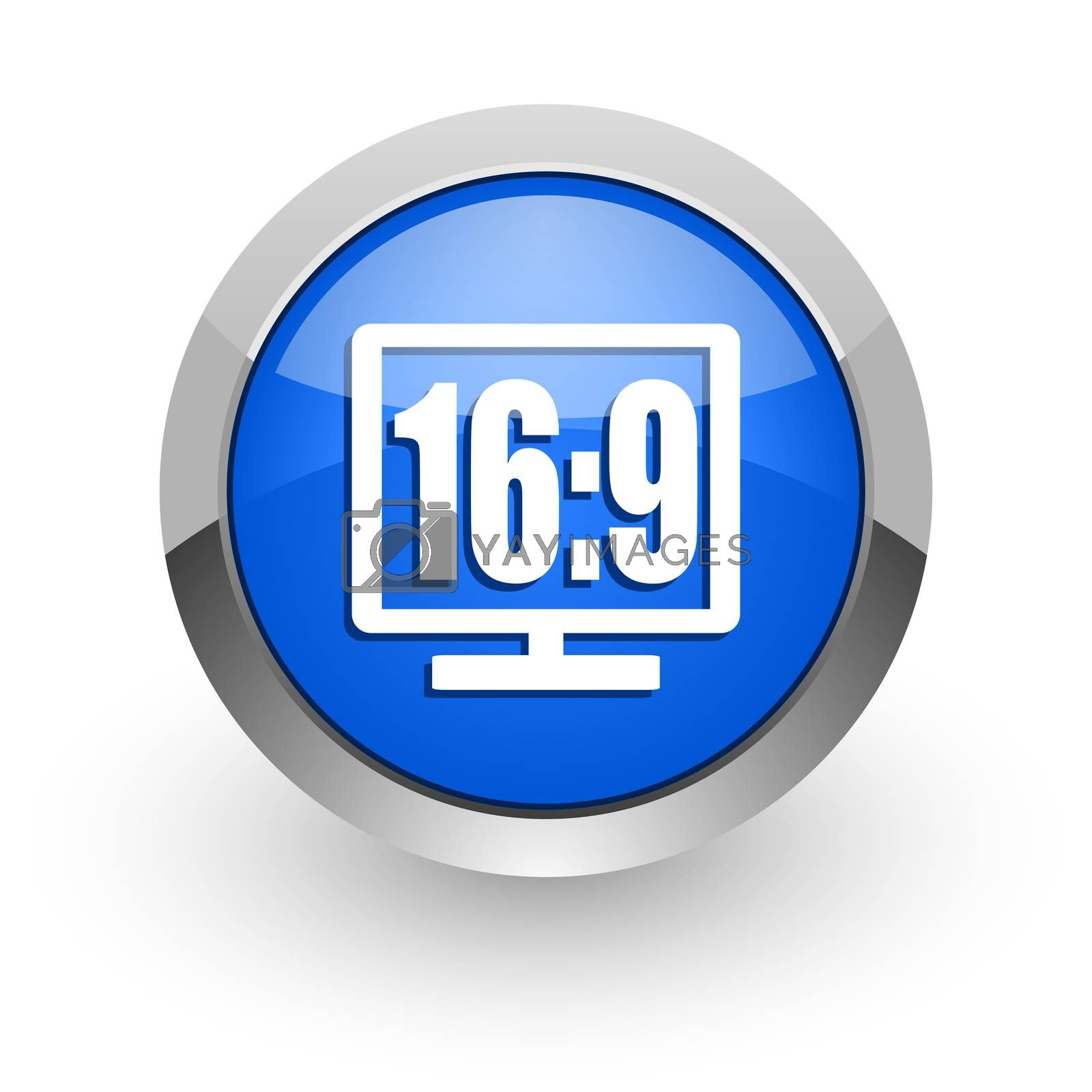 Royalty free image of 16 9 display blue glossy web icon by alexwhite