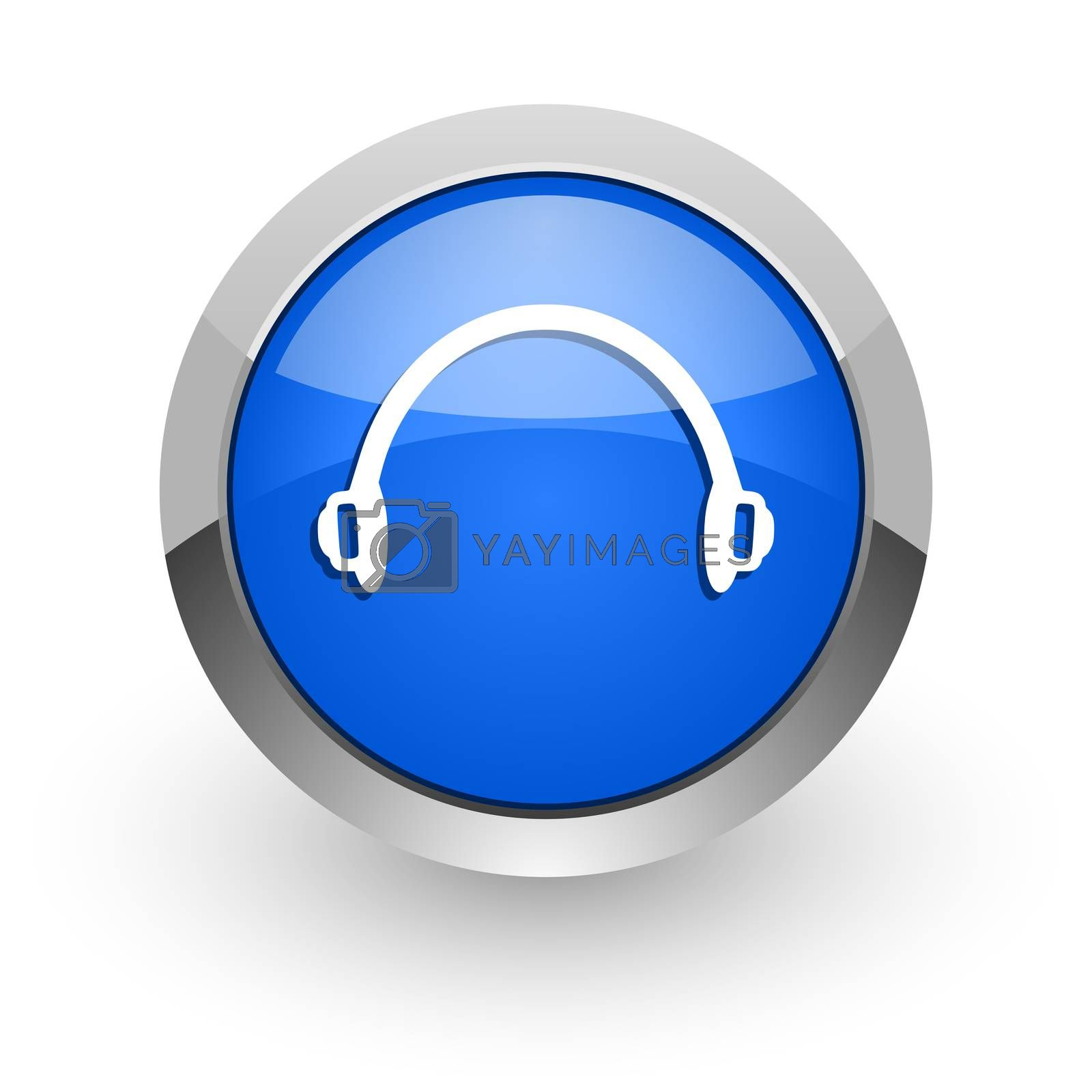 Royalty free image of headphones blue glossy web icon by alexwhite