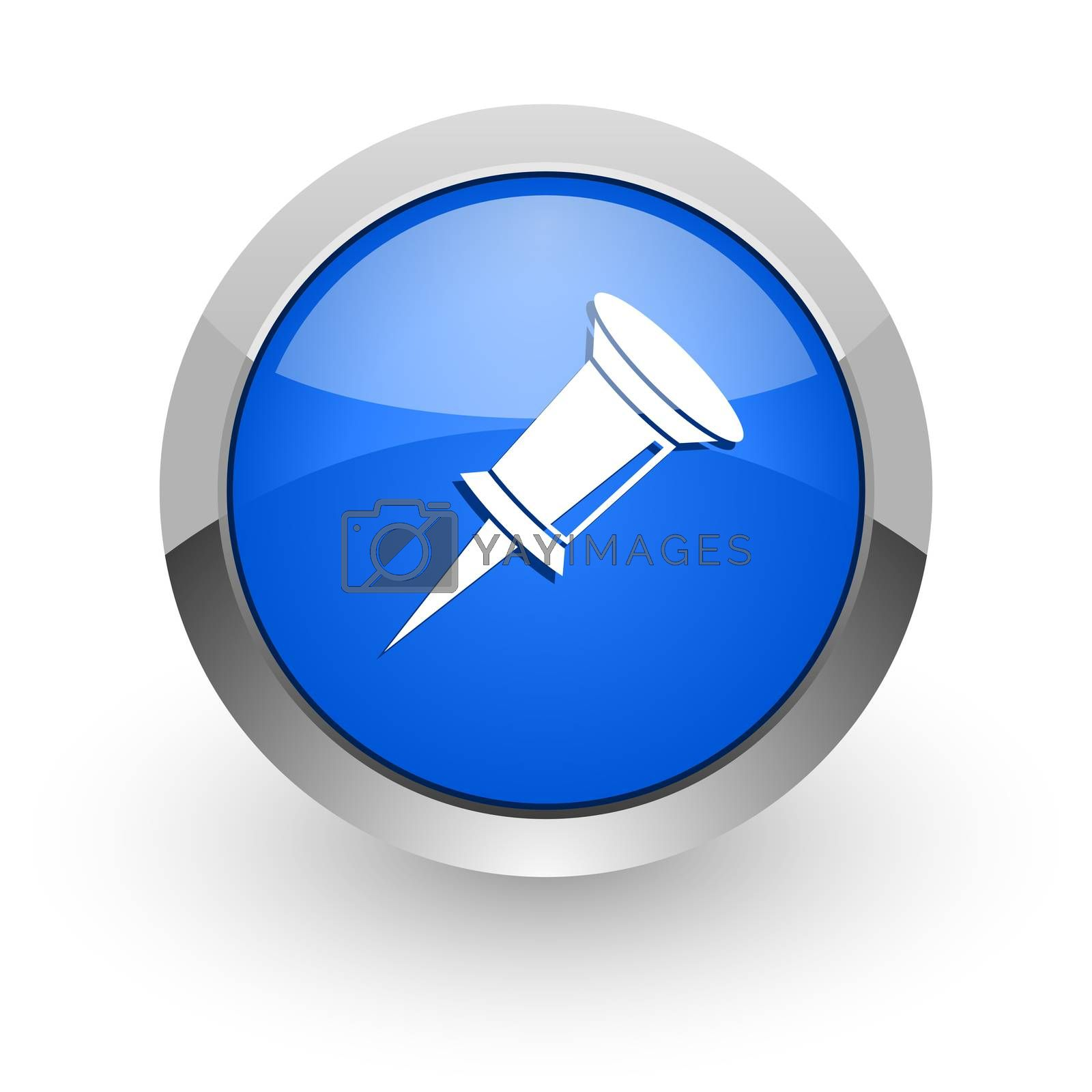 Royalty free image of pin blue glossy web icon by alexwhite