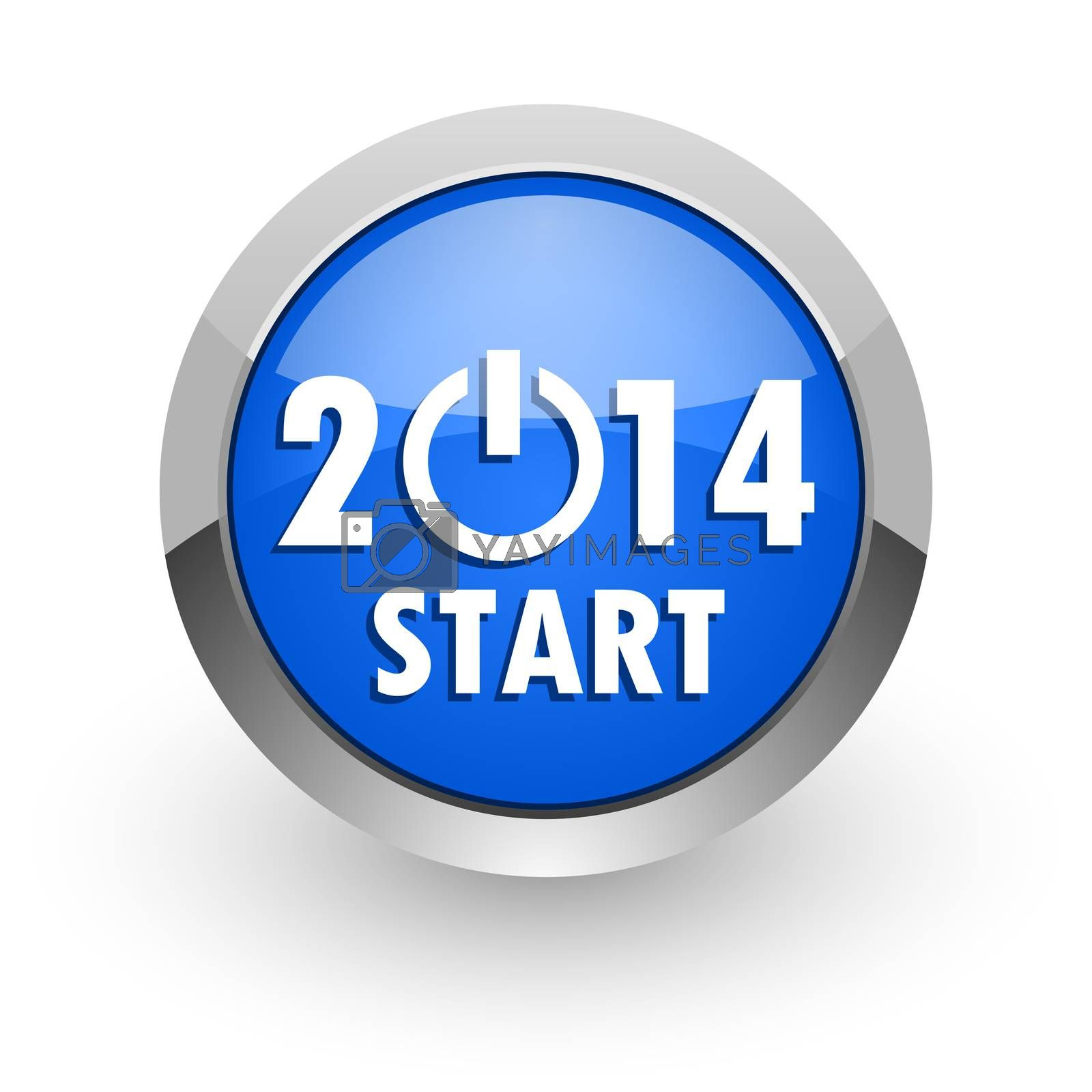 Royalty free image of year 2014 blue glossy web icon by alexwhite