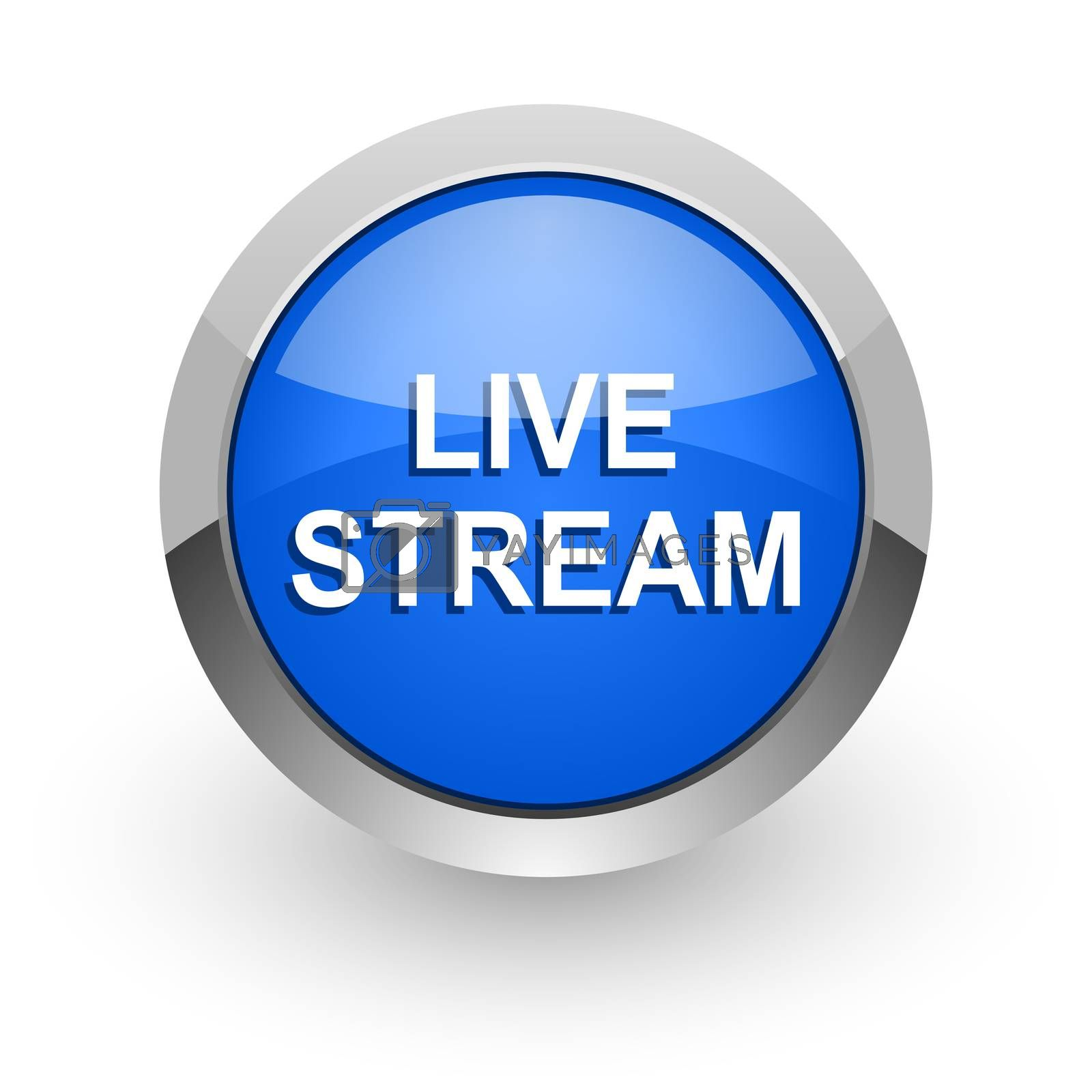 Royalty free image of live stream blue glossy web icon by alexwhite