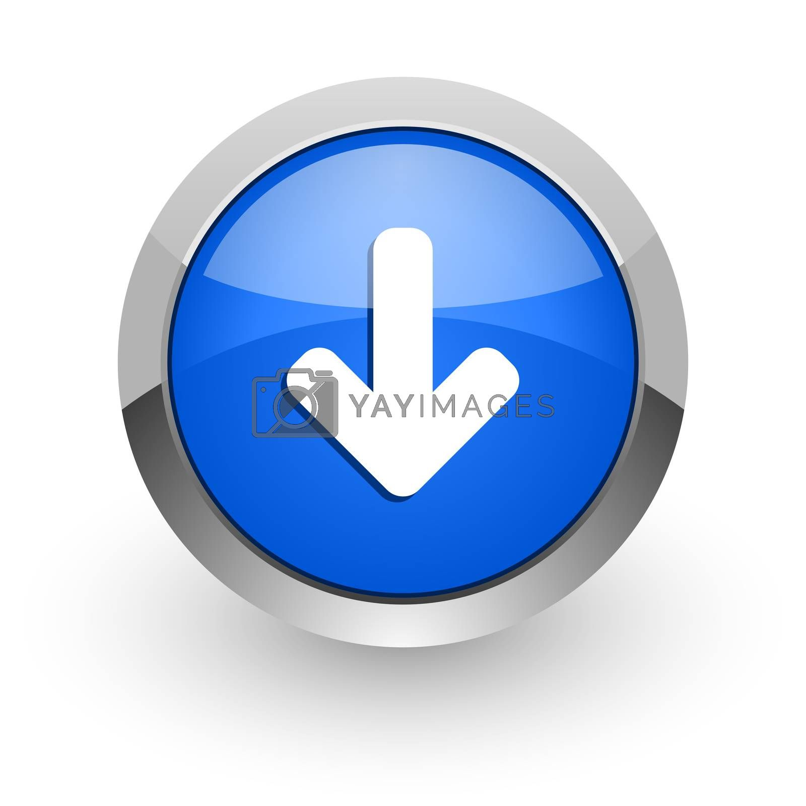 Royalty free image of download arrow blue glossy web icon by alexwhite
